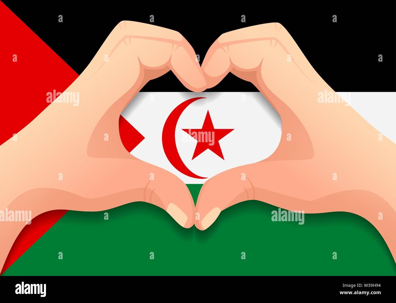 Arabische saharauische Demokratische Republik Flagge und Hand Herz Form. Patriotischen Hintergrund. Nationalflagge von Arabische saharauische Demokratische Republik Vektor illustratio Stockbild