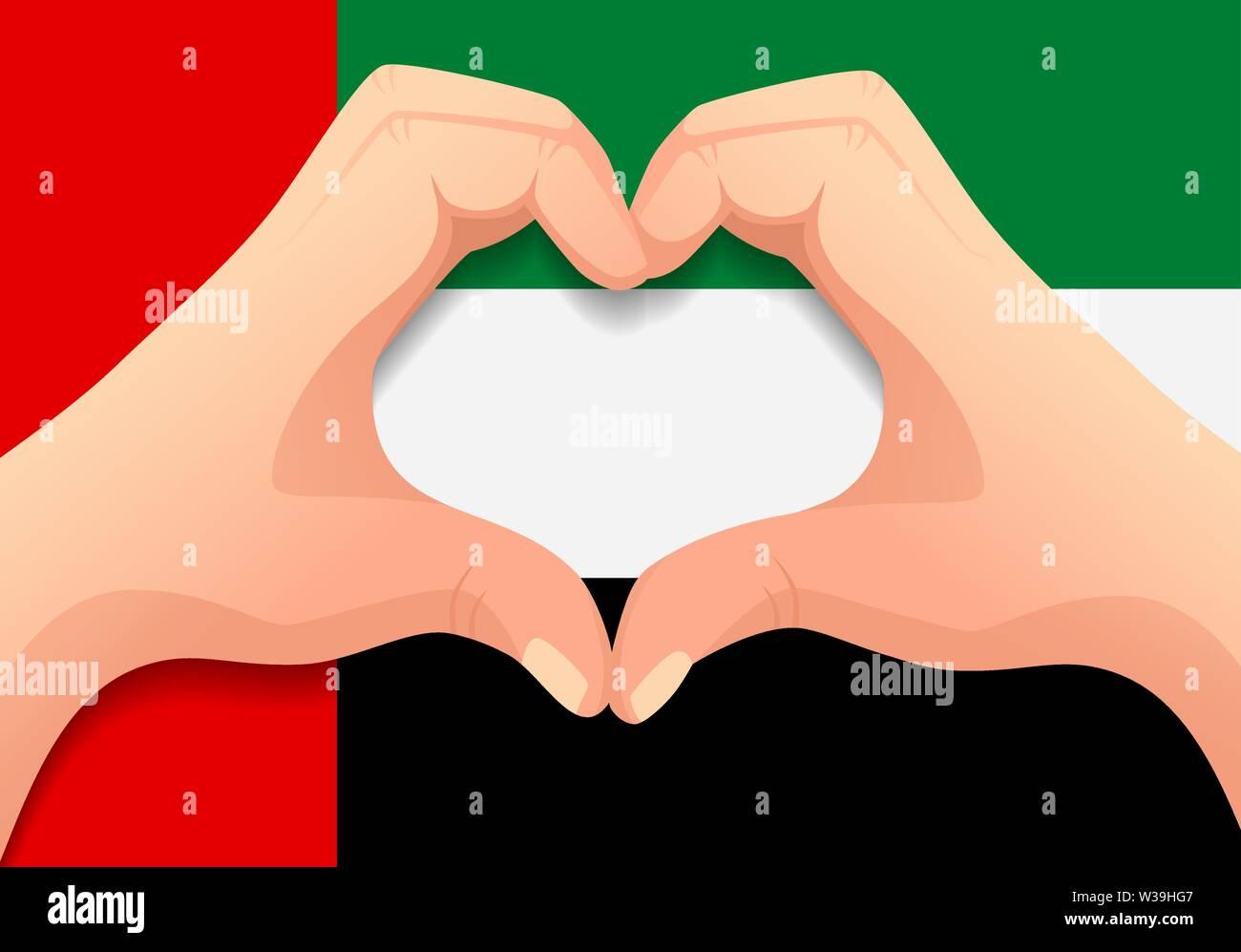 Vereinigte Arabische Emirate Fahne und Hand Herz Form. Patriotischen Hintergrund. Die Flagge der Vereinigten Arabischen Vector Illustration Stockbild