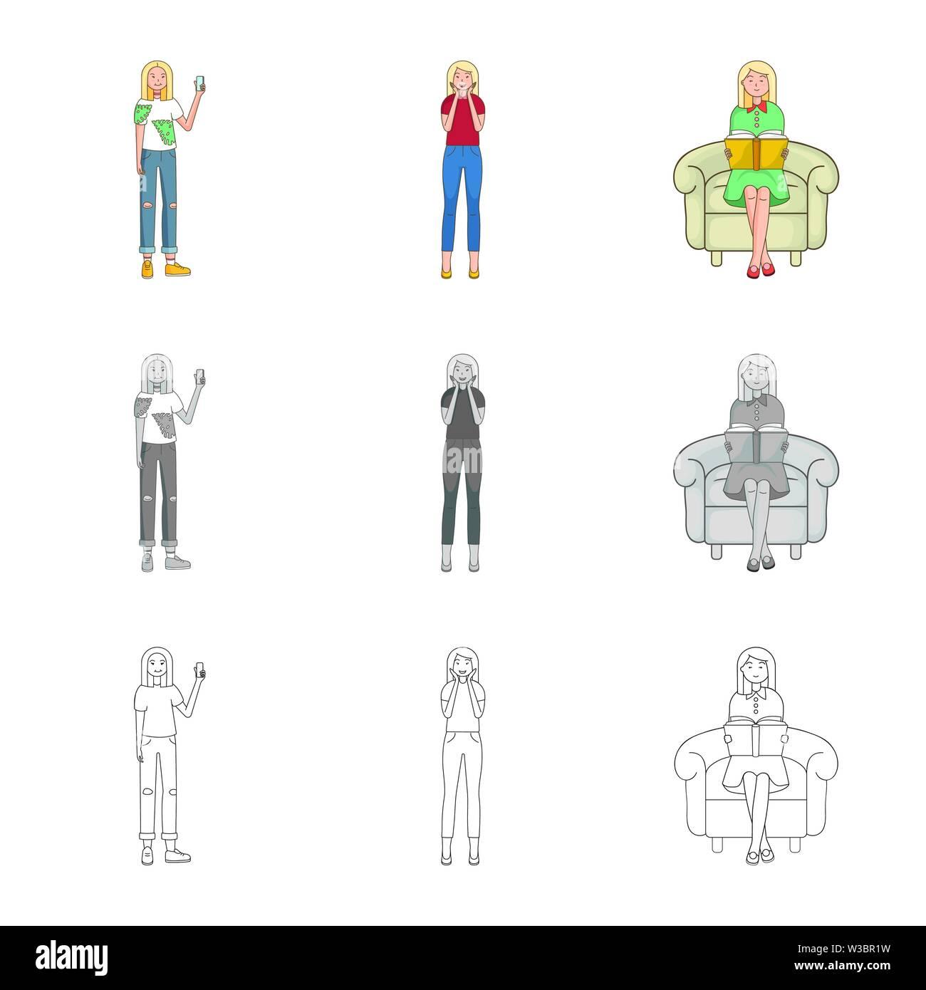 Vektor Design von Haltung und Stimmung Logo. Eingestellt von Haltung und weiblichen Lager Vector Illustration. Stockbild
