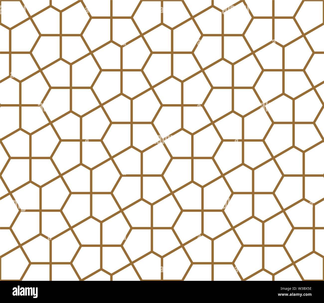 Nahtlose geometrische Verzierung auf traditionelle arabische Kunst. muslimischen Mosaik. Braune Farbe Linien. Tolles Design für Stoff-, Textil-, Abdeckung, Geschenkpapier, zurück Stockbild