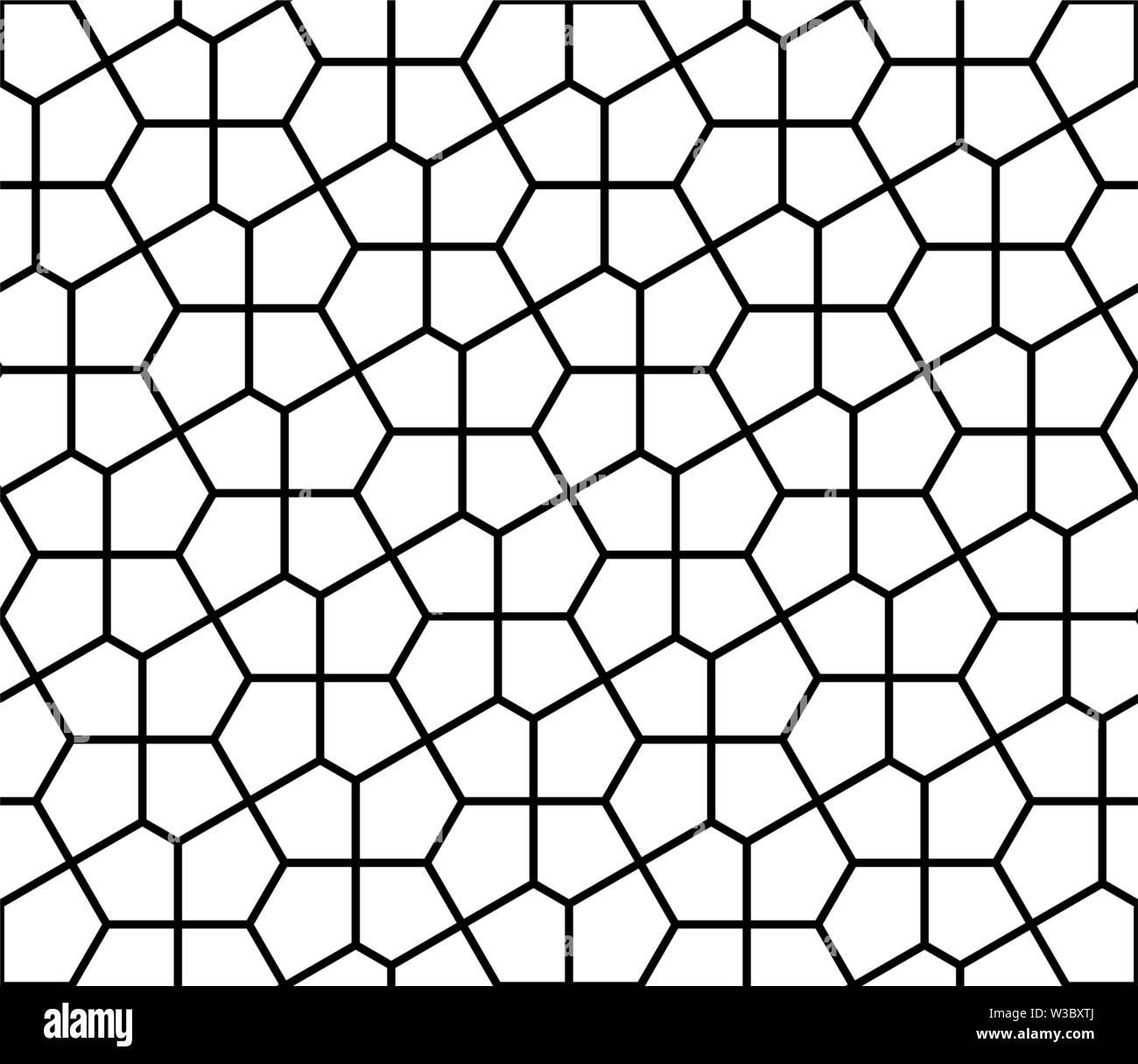Nahtlose geometrische Verzierung auf traditionelle arabische Kunst. muslimischen Mosaik. Schwarze und Weiße Linien. Tolles Design für Stoff-, Textil-, Abdeckung, Geschenkpapier, Stockbild
