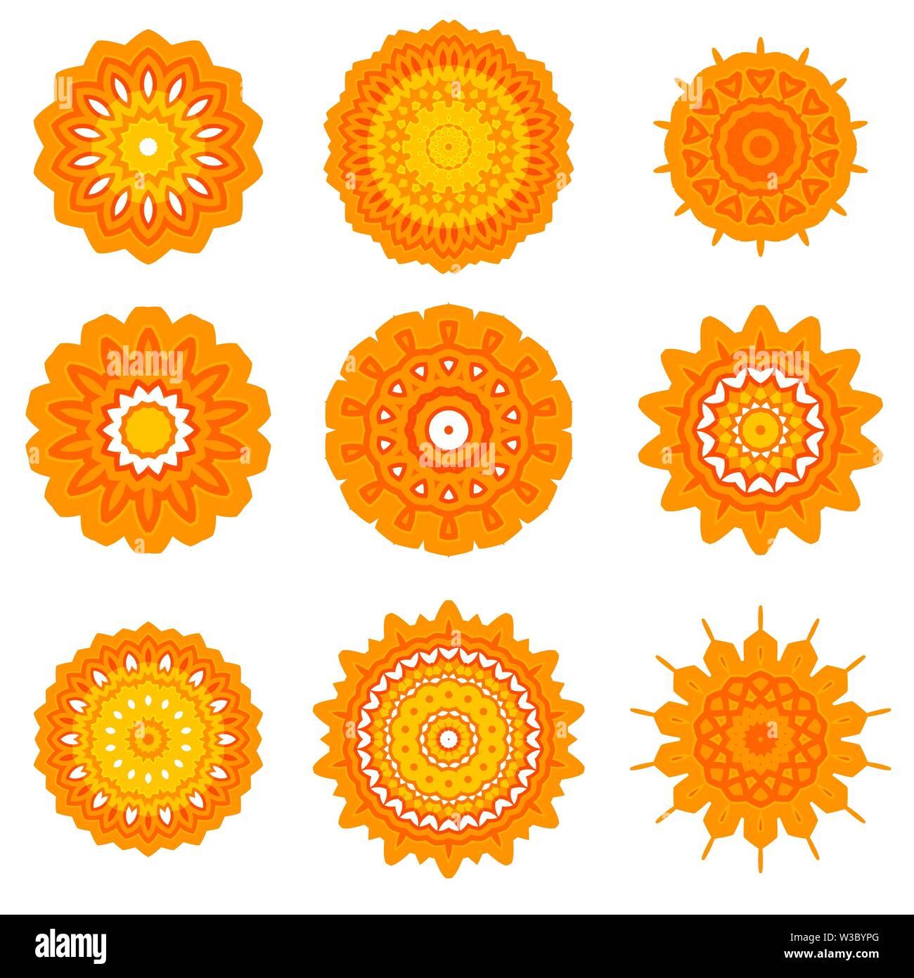 Gelb Zier Linienmuster. Runde Textur. Orientalische geometrische Verzierung. Stockbild