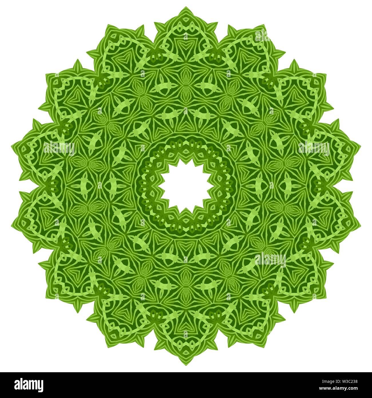 Grüne Zier Linienmuster. Runde Textur. Orientalische geometrische Verzierung. Stockbild