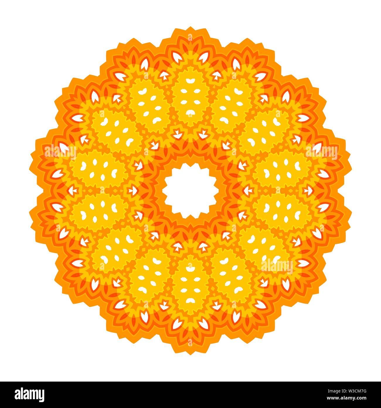 Gelb Zier Linienmuster runde Textur. Orientalische geometrische Verzierung. Stockbild