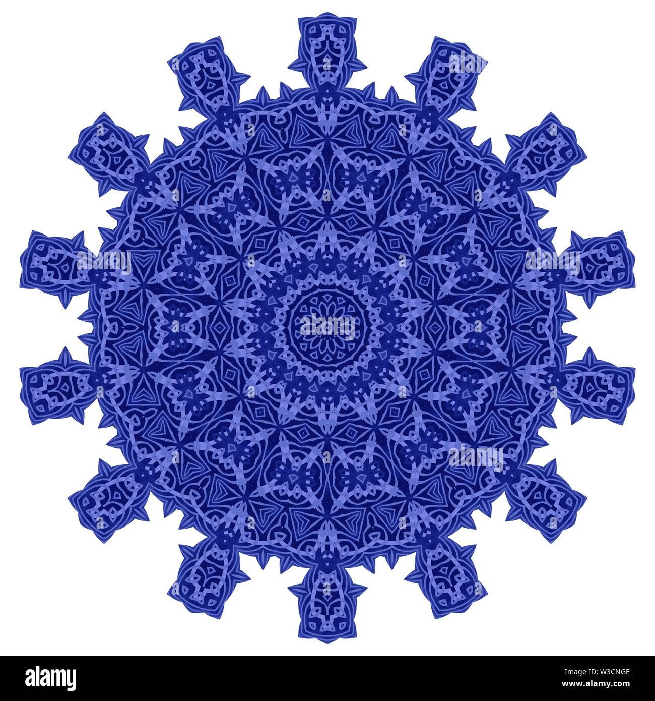 Blue Ornamental Linienmuster runde Textur. Orientalische geometrische Verzierung. Stockbild