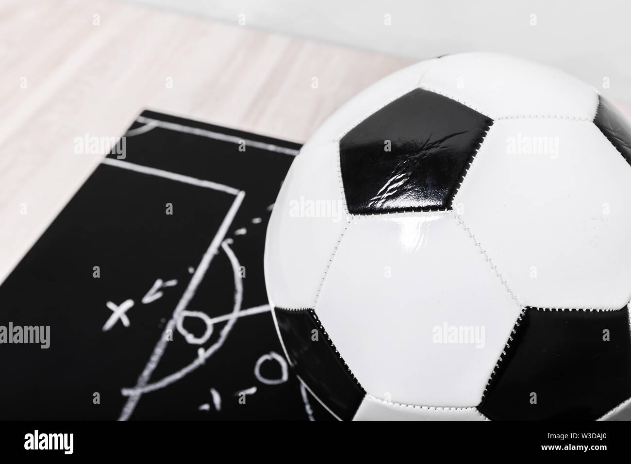 Fußball-plan Kreidetafel mit Bildung Taktik Stockbild
