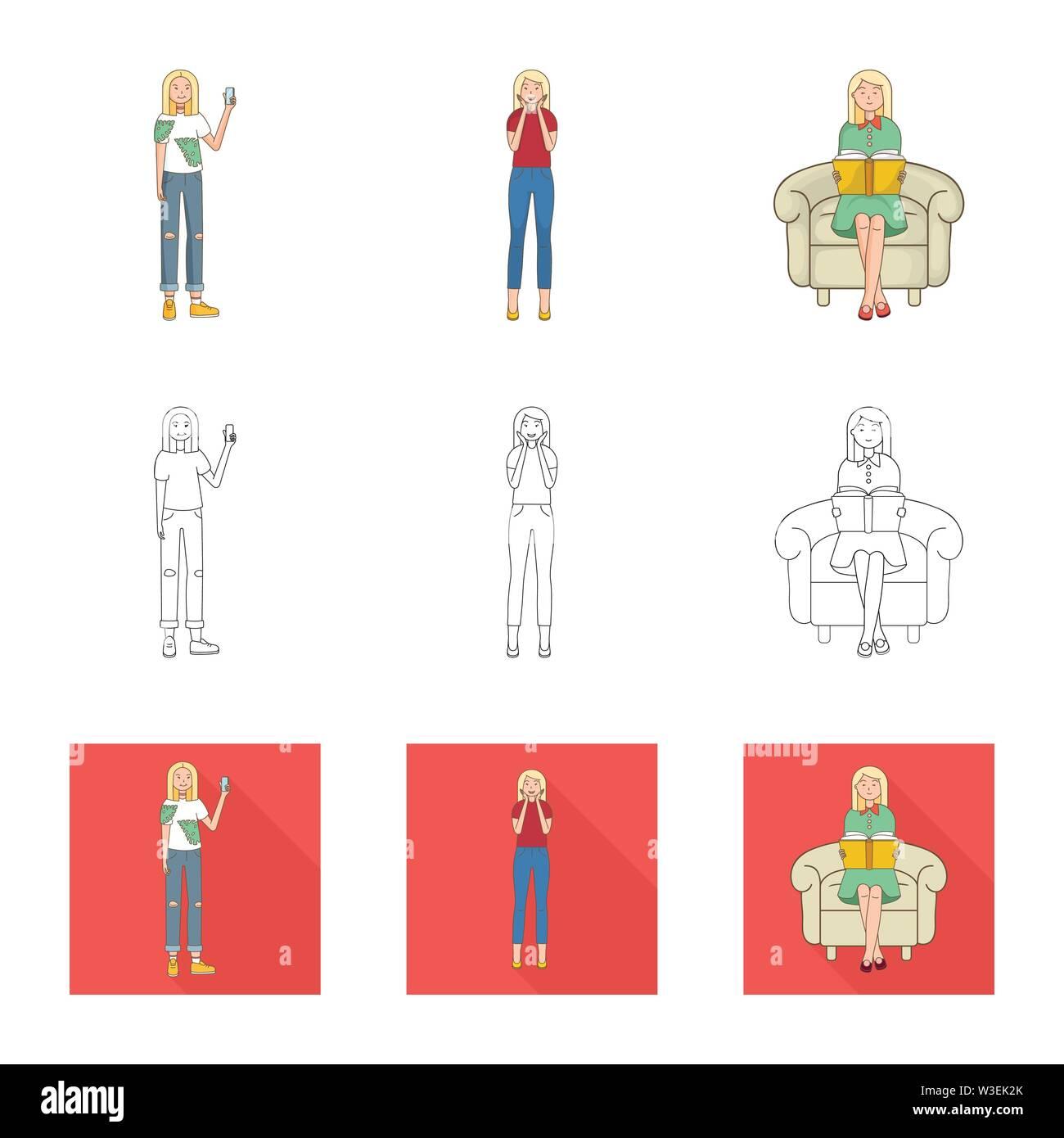 Vector Illustration von Haltung und Stimmung. Sammlung von Haltung und weiblichen Lager Symbol für das Web. Stockbild