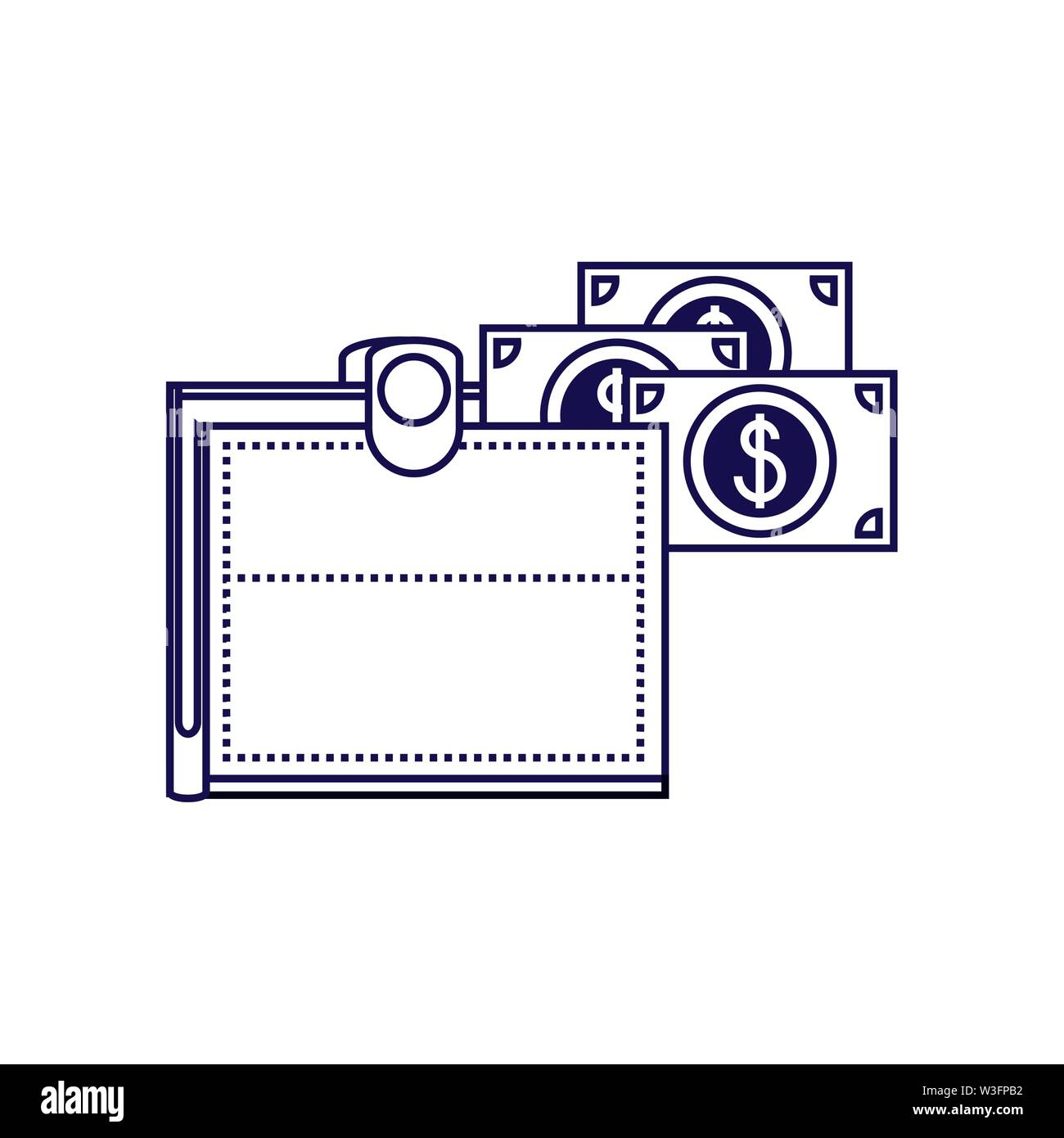 Wallet mit Rechnungen Geld dollar Vector Illustration Design Stockbild