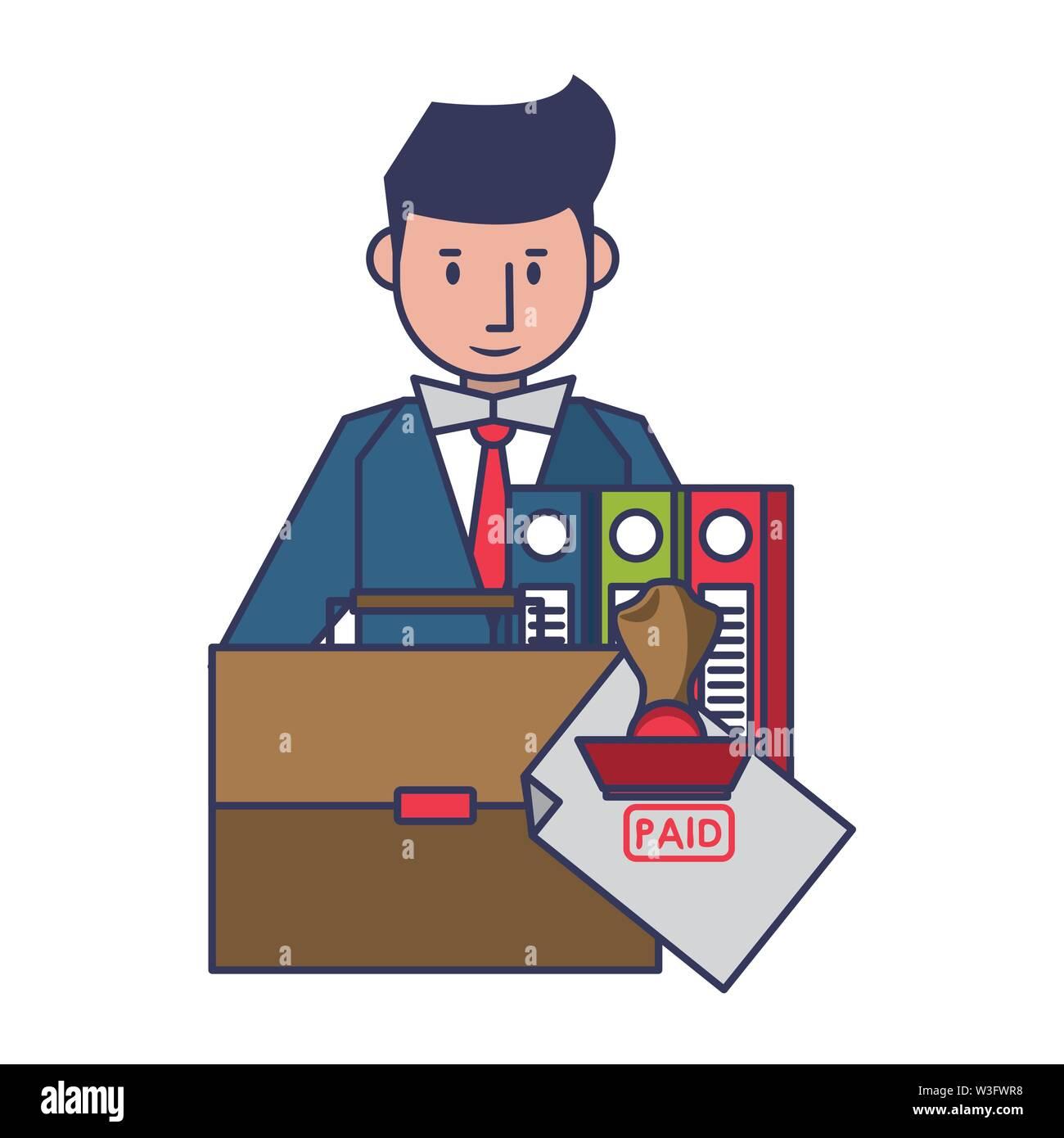 Persönliche Finanzen Aufwendungen und Kosten Saldo Berechnung zahlung Geschäftsmann cartoon Vector Illustration graphic design Stockbild