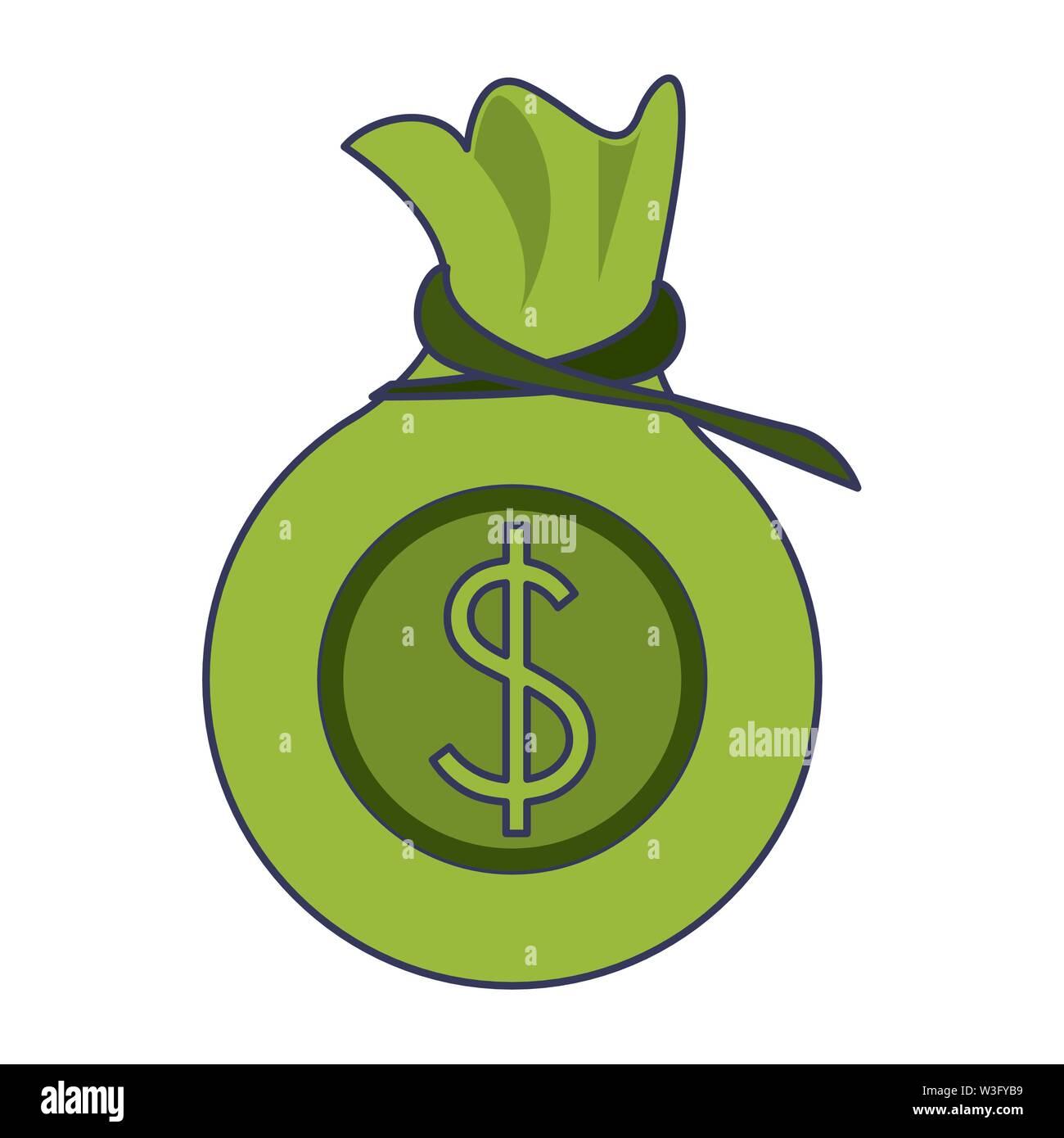 Geld sparen Geld beutel cartoon Vector Illustration graphic design Stockbild