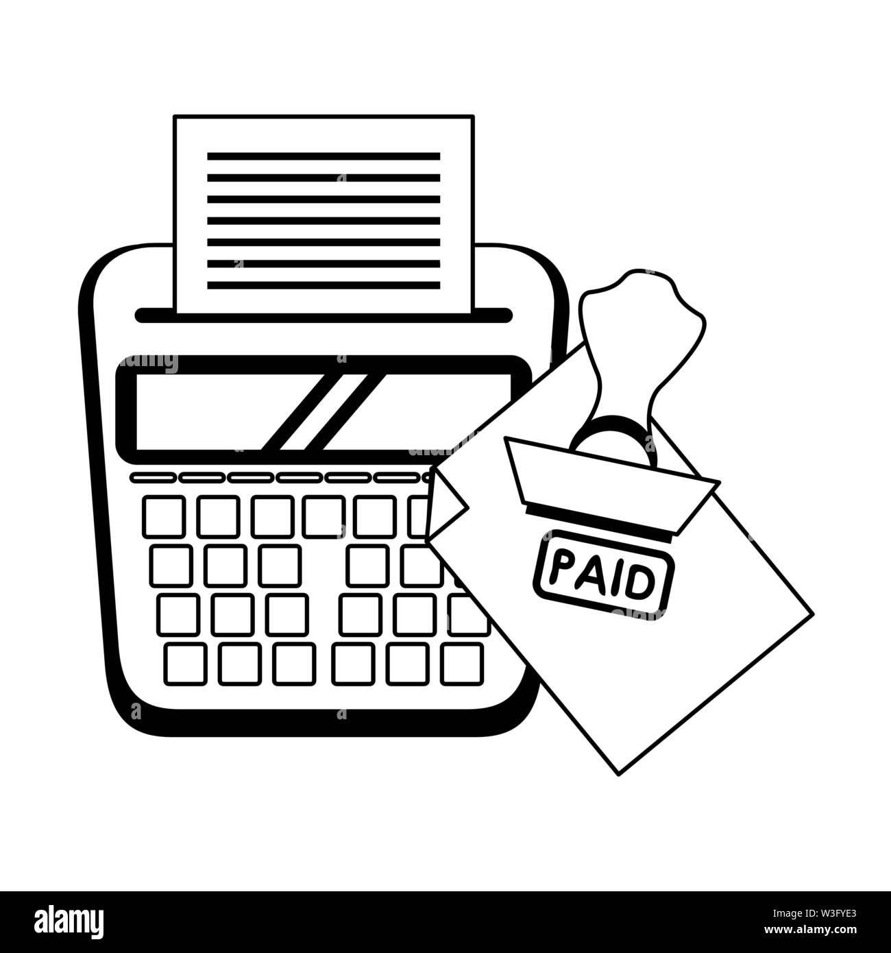 Persönliche Finanzen Aufwendungen und Kosten Saldo Berechnung Bezahlung cartoon Vector Illustration graphic design Stockbild
