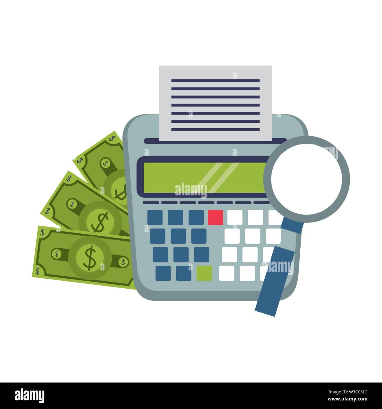 Geld sparen Unternehmen persönliche Finanzen balance berechnen Elemente cartoon Vector Illustration graphic design Stockbild