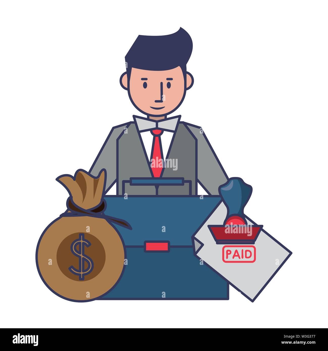 Geld sparen Unternehmen persönliche Finanzierung Zahlung berechnen Elemente mit Geschäftsmann cartoon Vector Illustration graphic design Stockbild