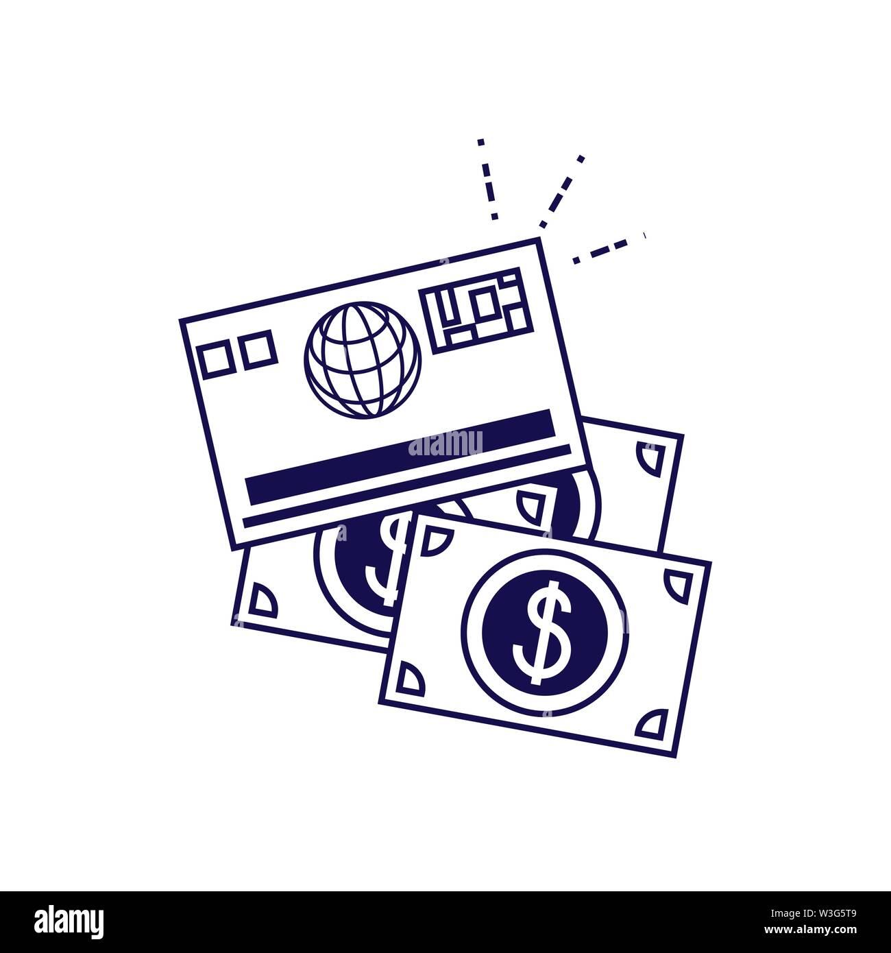 Rechnungen Geld Dollar mit Kreditkarte Vector Illustration Design Stockbild