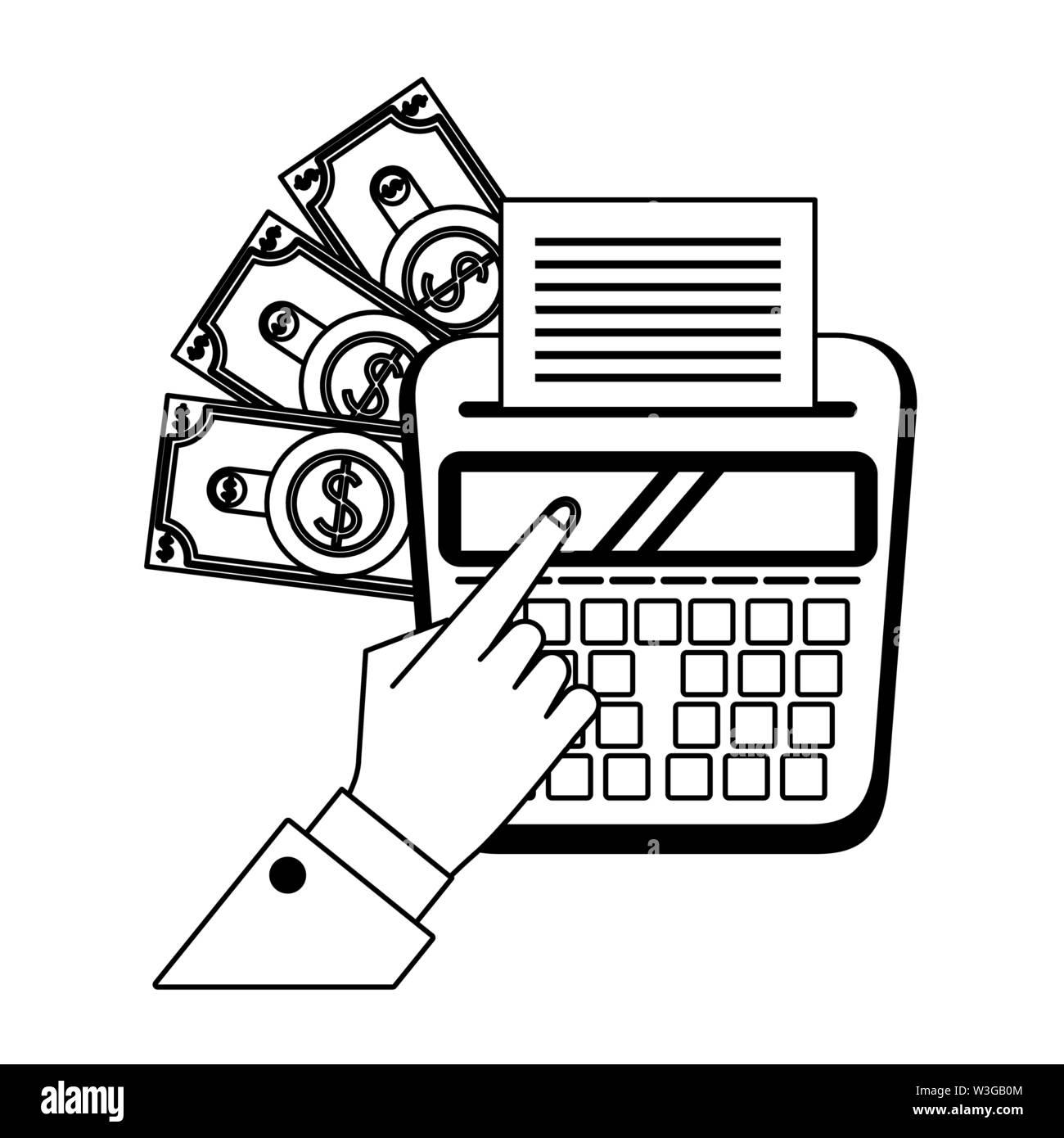 Geld sparen Business Finance Karikatur in Schwarz und Weiß Stockbild