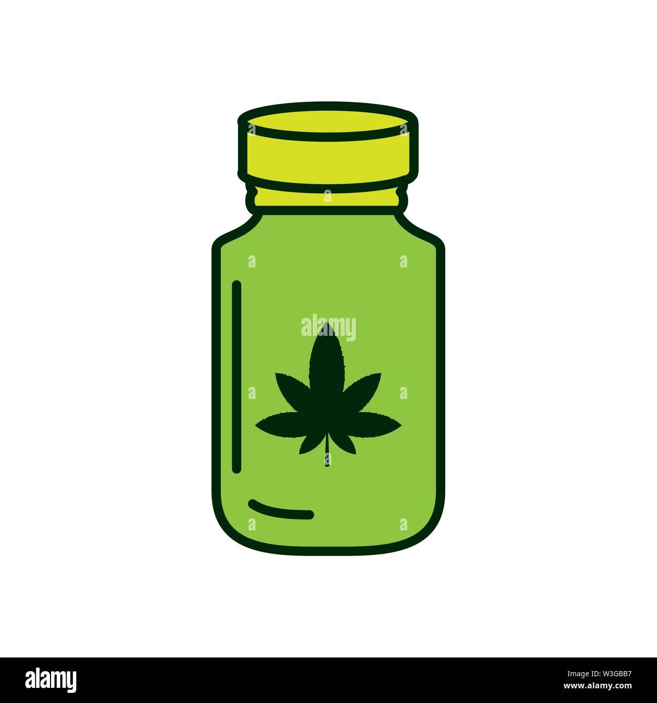 Cannabis Flasche Produkt Medizin Symbol Vektor illustration Design Stockbild
