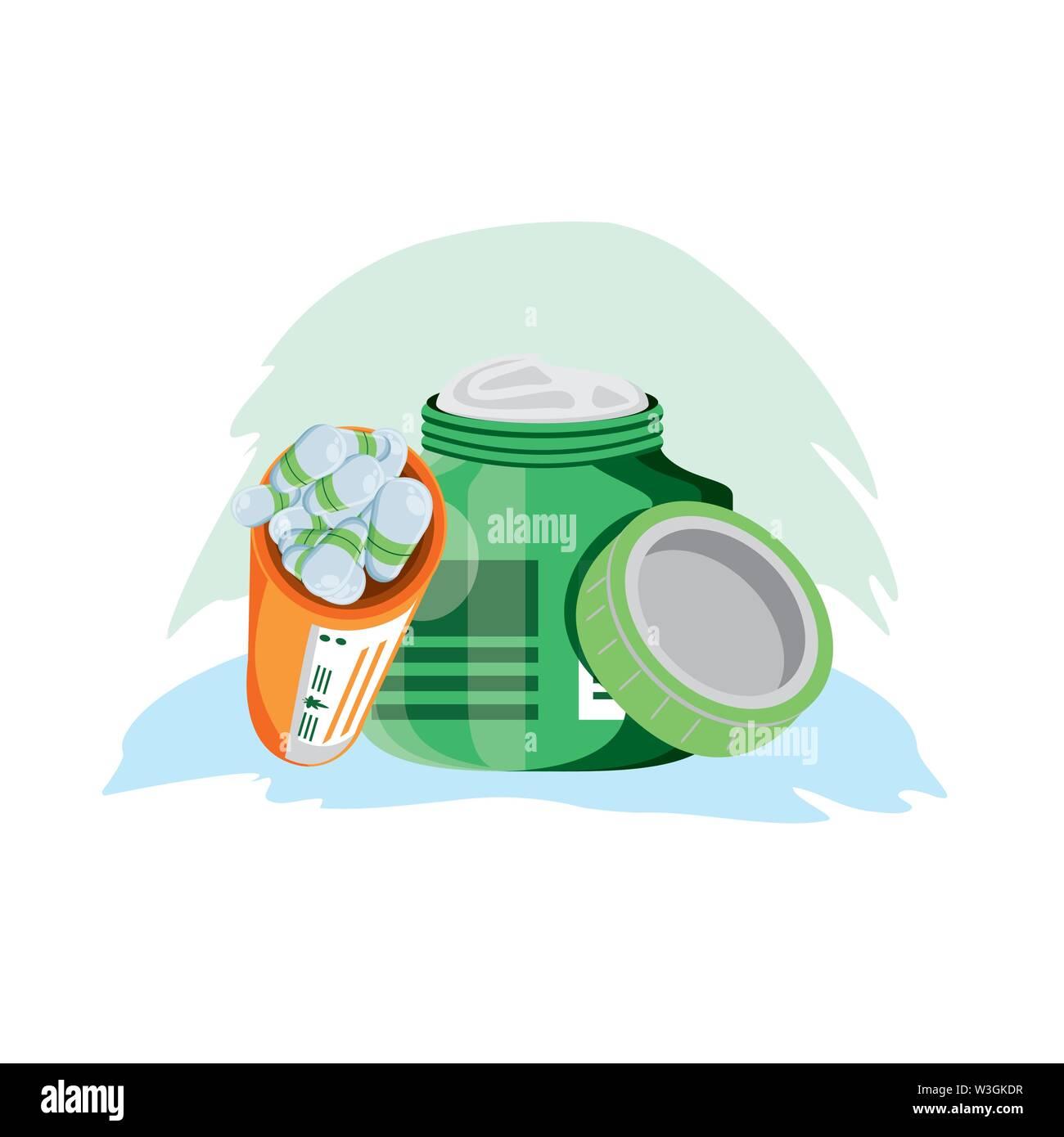 Cannabis Flasche Produkt mit Kapseln Vector Illustration Design Stockbild