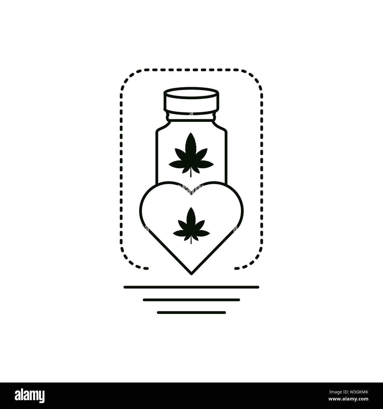Cannabis Flasche Produkt mit Herzen Vector Illustration Design Stockbild