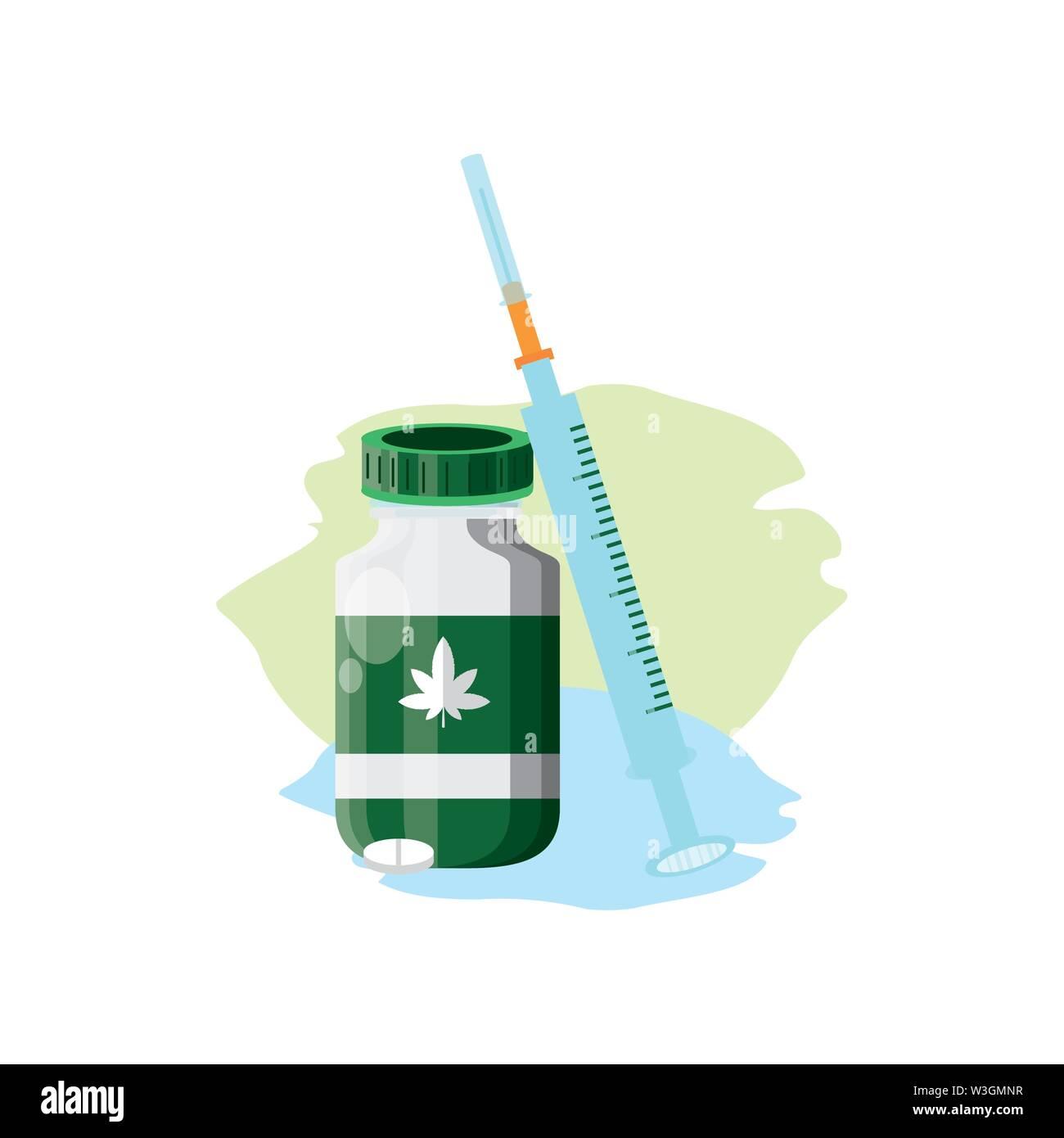 Cannabis Flasche Produkt mit Pillen und Spritzen Vector Illustration Design Stockbild