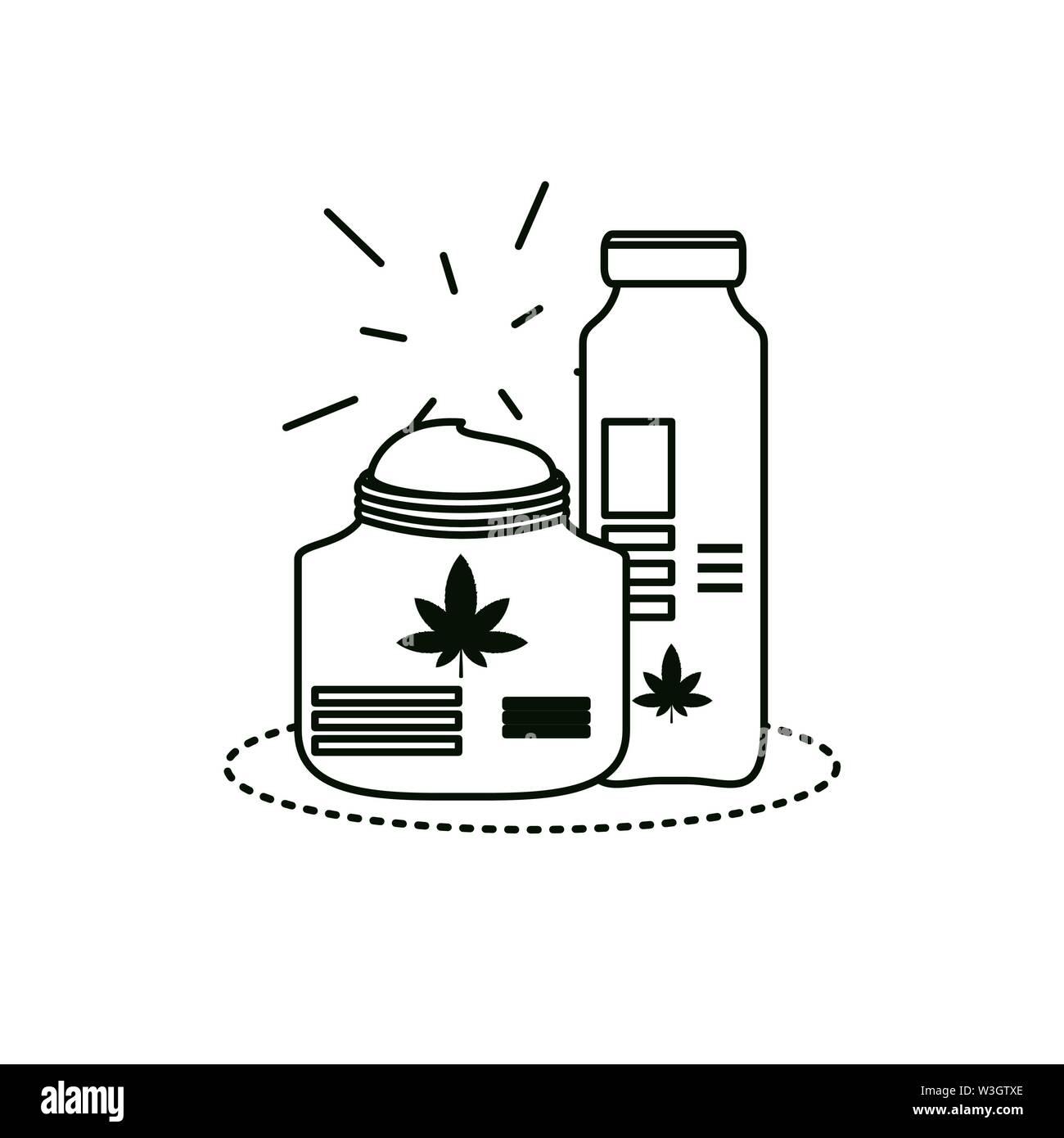 Cannabis Flaschen Arzneimittel Symbole Vector Illustration Design Stockbild