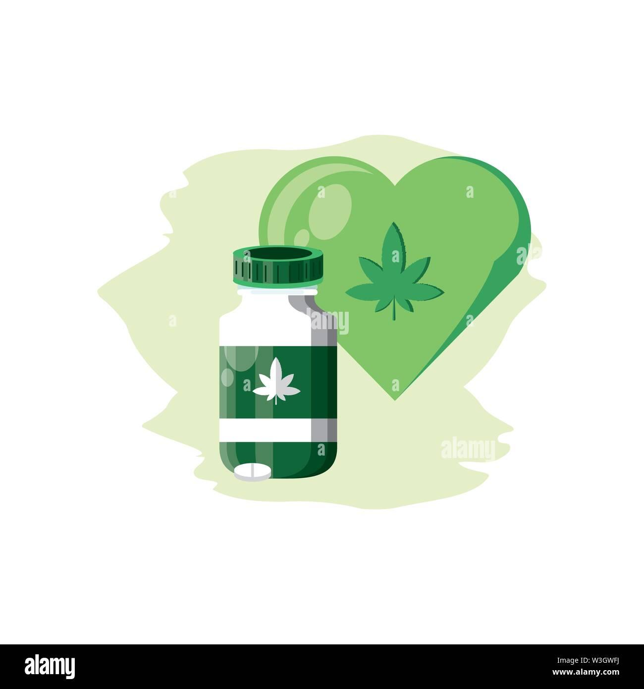 Cannabis Flasche Produkt mit Pillen und Herzen Vector Illustration Design Stockbild