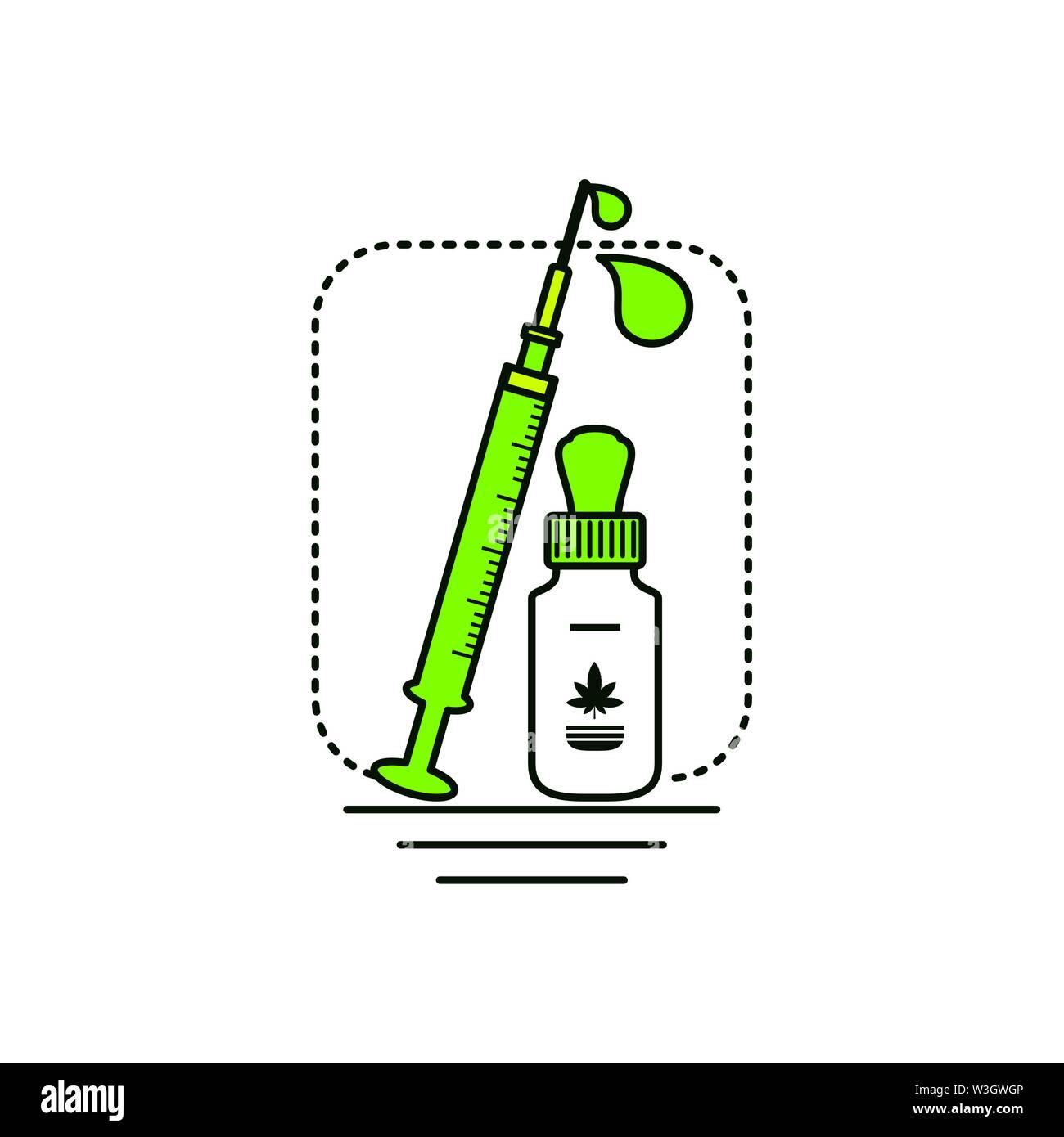 Cannabis Flasche Produkt dropper mit Spritze Vector Illustration Design Stockbild
