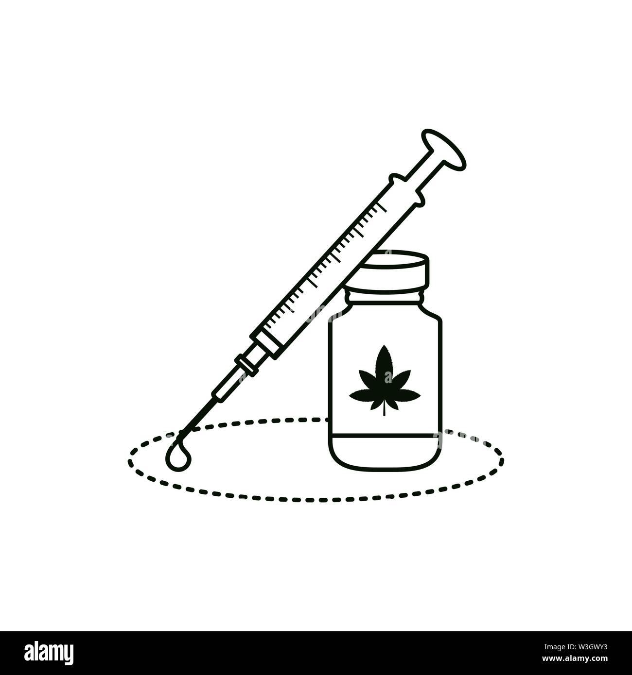 Cannabis Flasche Produkt mit Spritze Vector Illustration Design Stockbild
