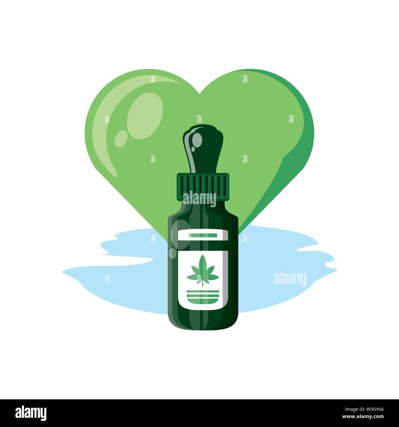 Cannabis Flasche Produkt dropper mit Herz Vector Illustration Design Stockbild