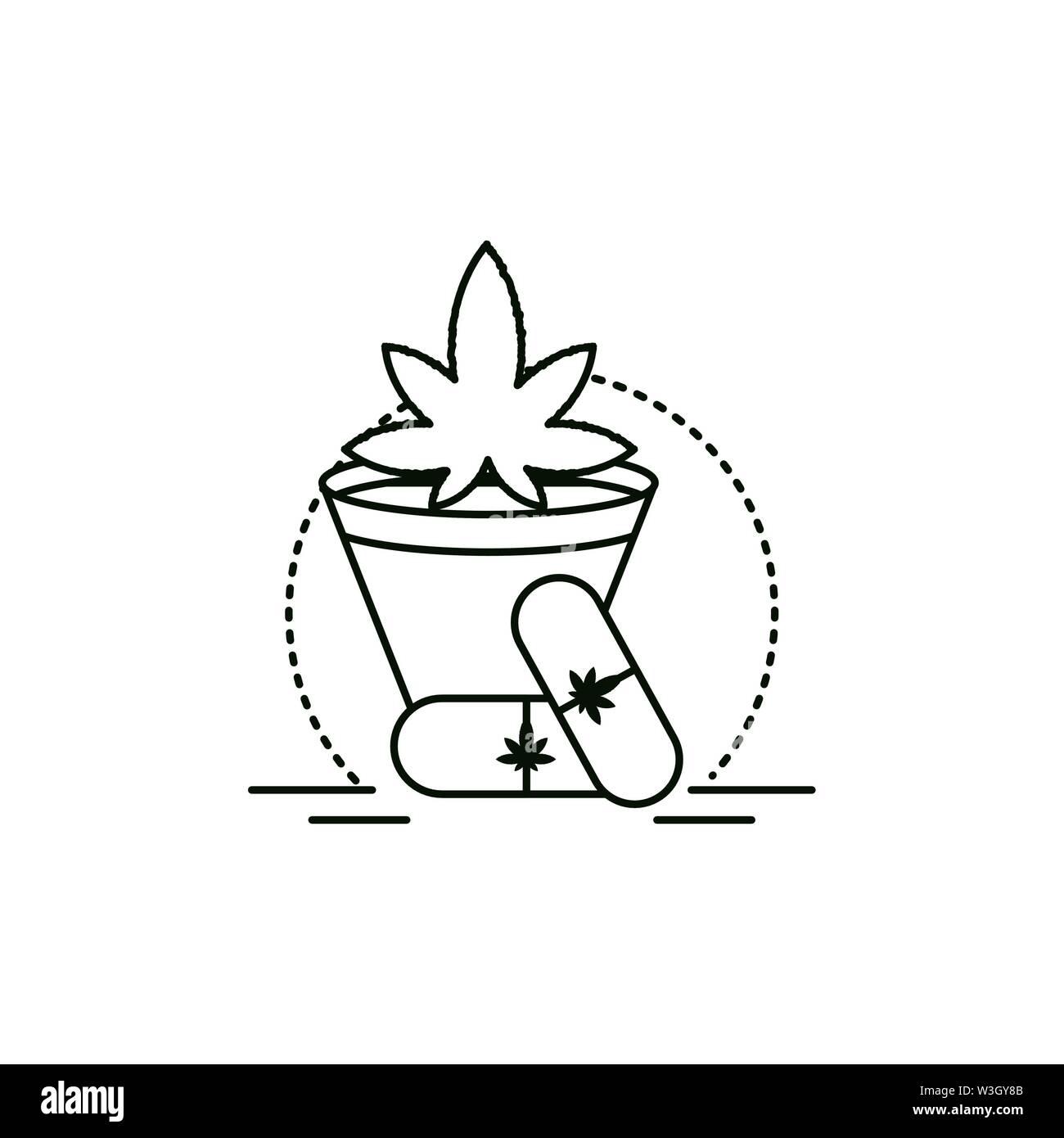 Cannabis Droge Kapsel mit zimmerpflanze Vector Illustration Design Stockbild