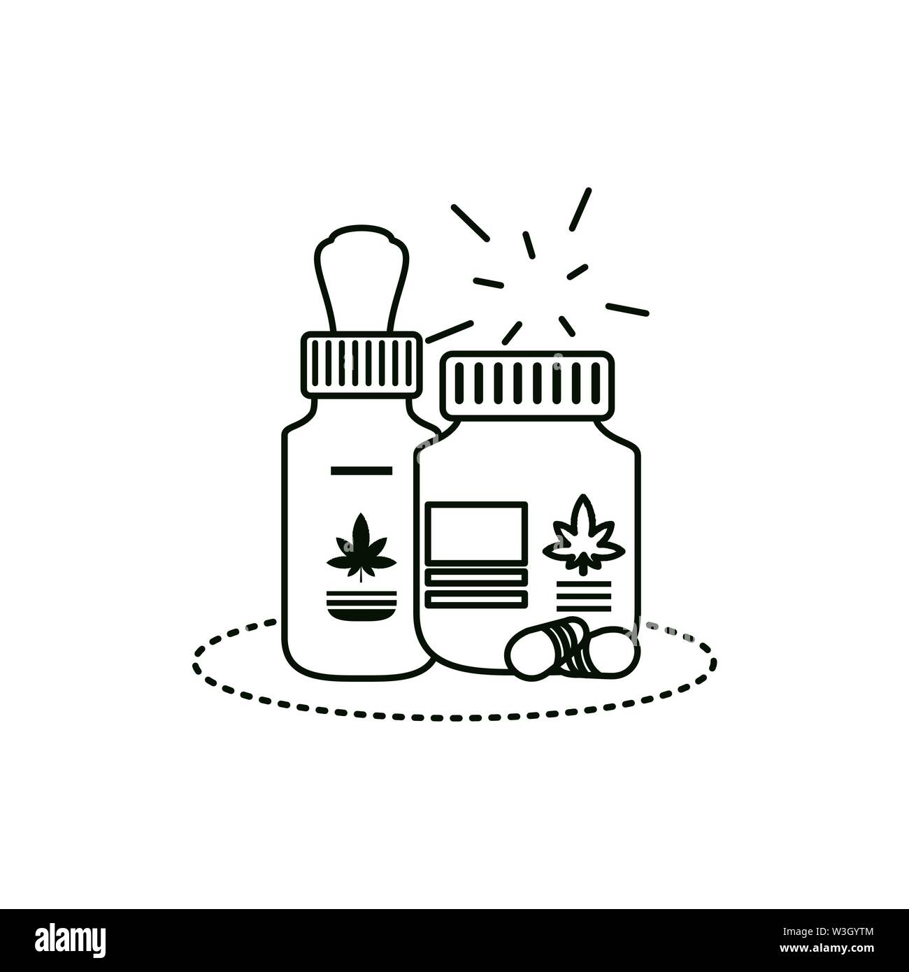 Cannabis Flasche mit Tropfer Symbol Vektor illustration Design Stockbild