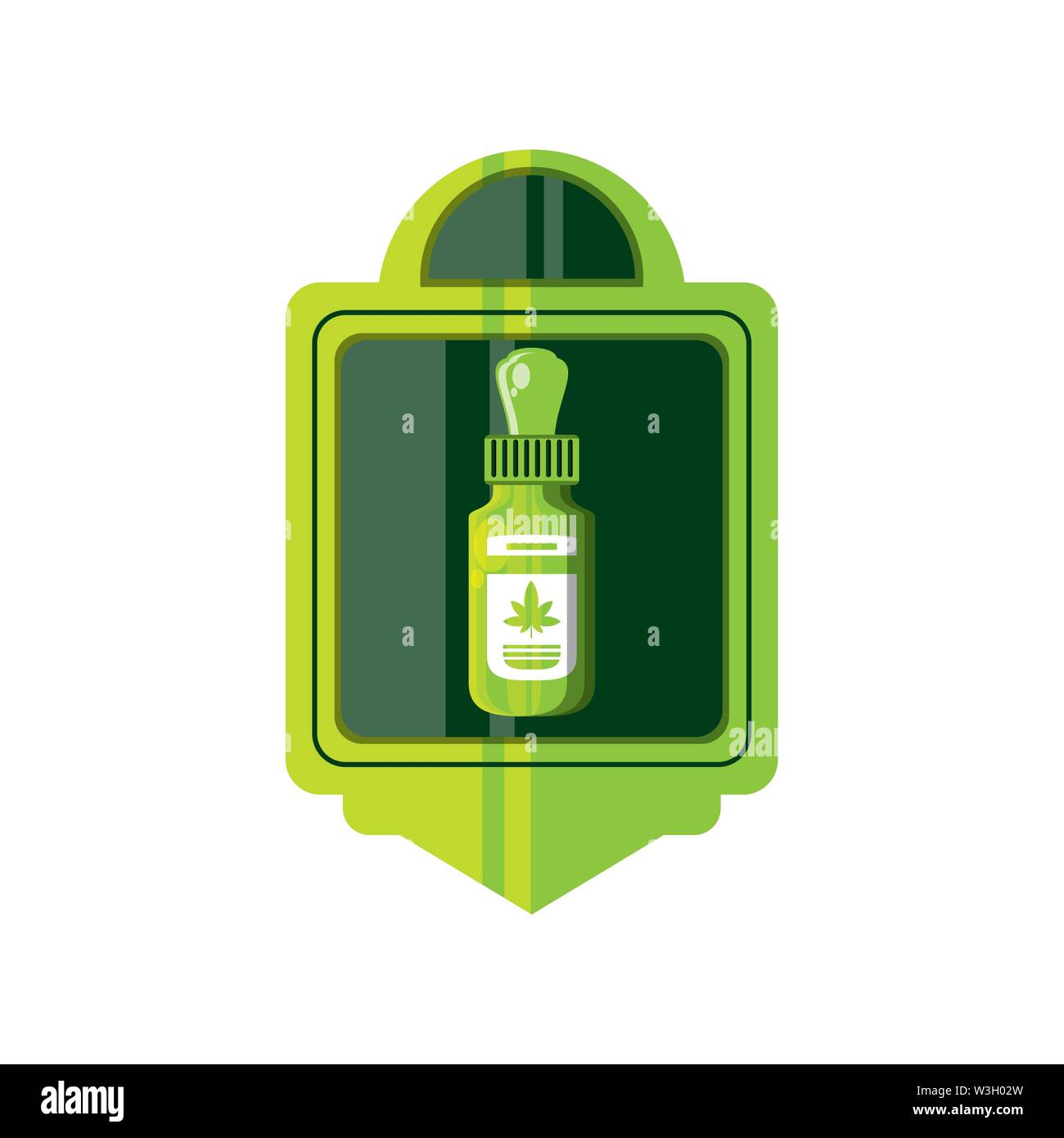 Cannabis Flasche Produkt dropper Frame Vector Illustration Design Stockbild