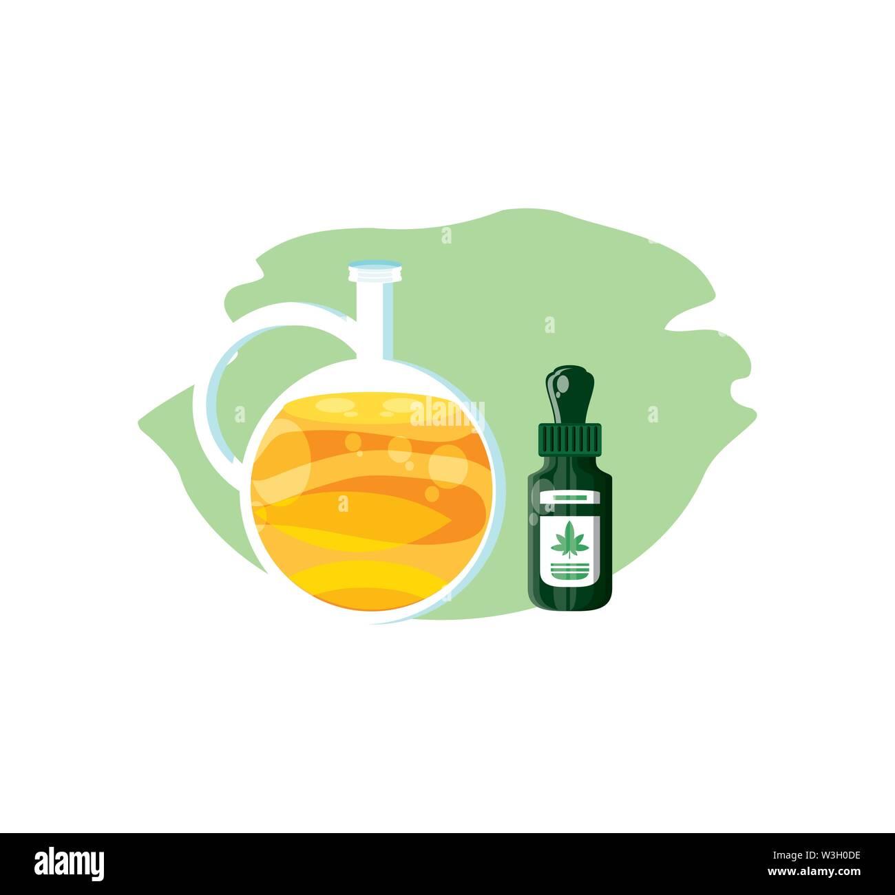 Cannabis Flasche Produkt dropper mit Öl jar Vector Illustration Design Stockbild