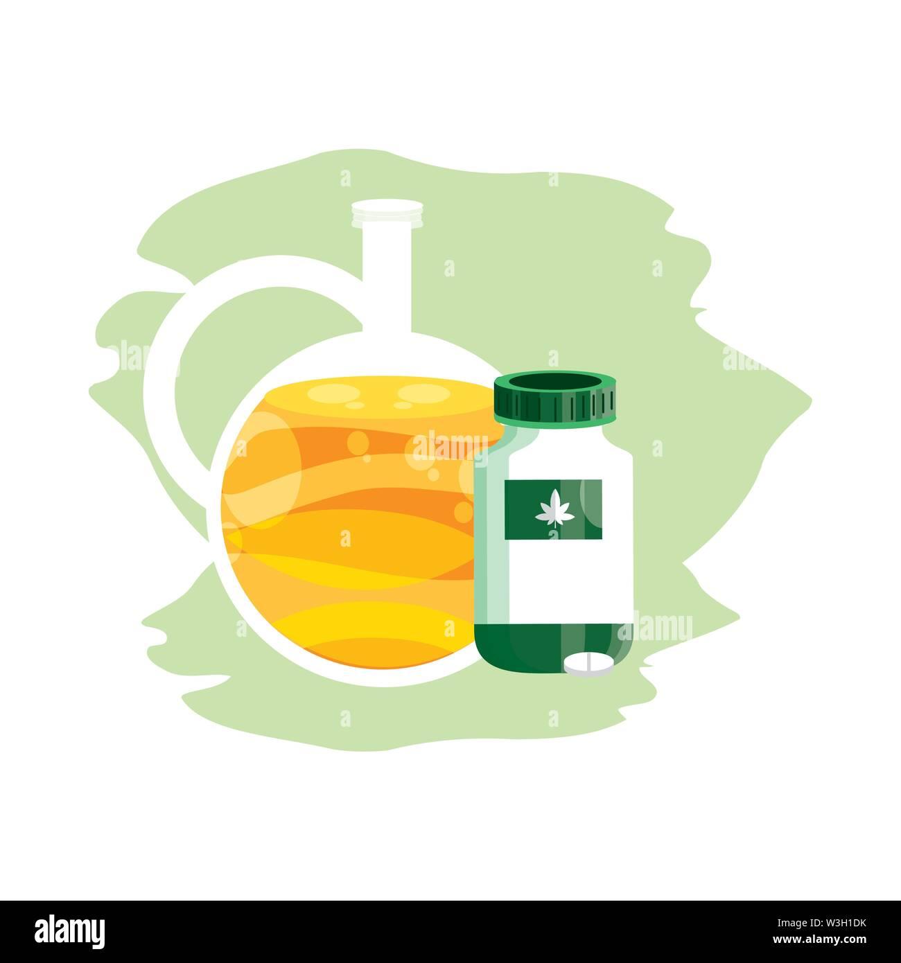 Cannabis Flasche Produkt mit Pillen und Öl jar Vector Illustration Design Stockbild