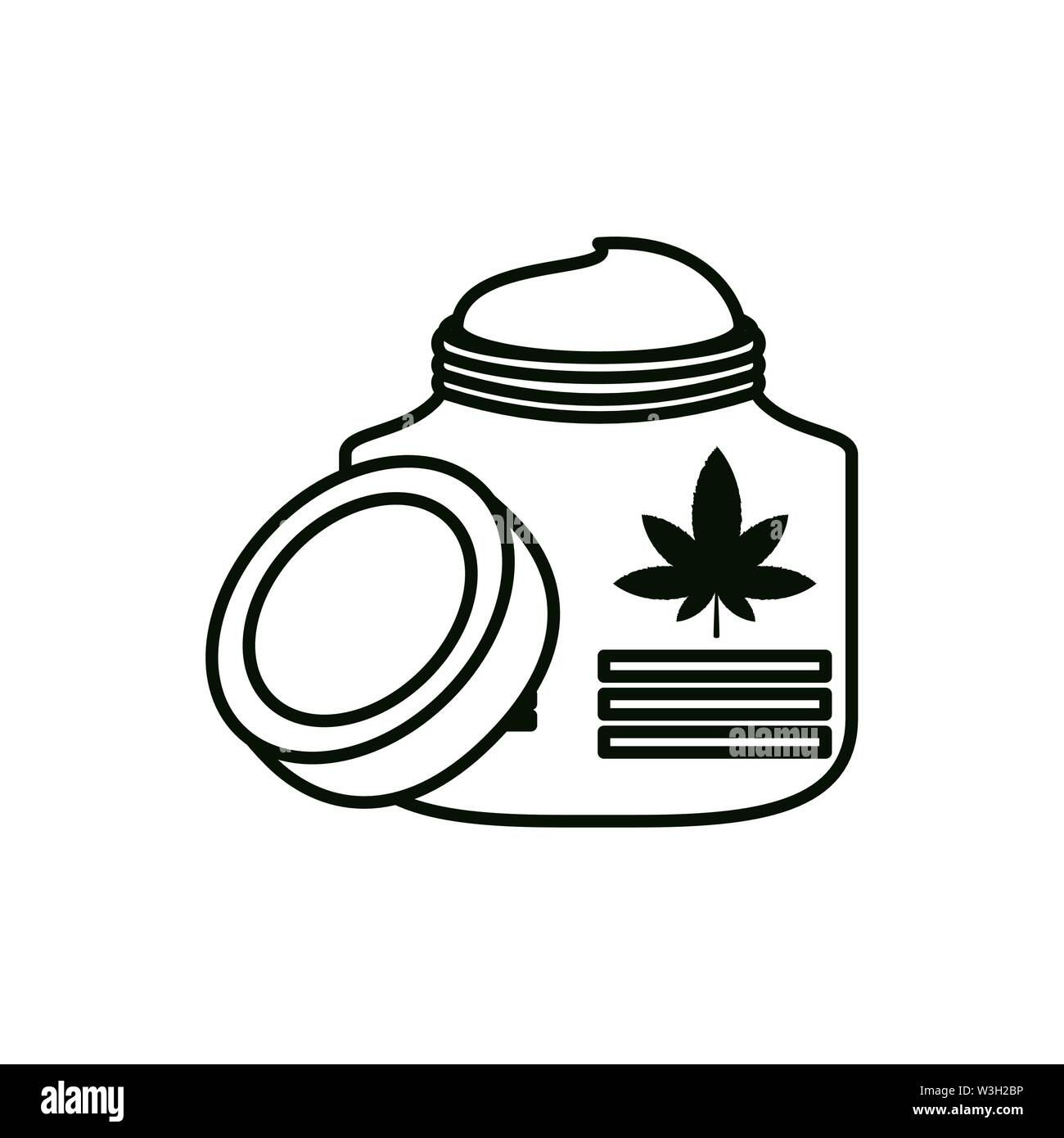 Cannabis Flasche Produkt mit pomade Vector Illustration Design Stockbild