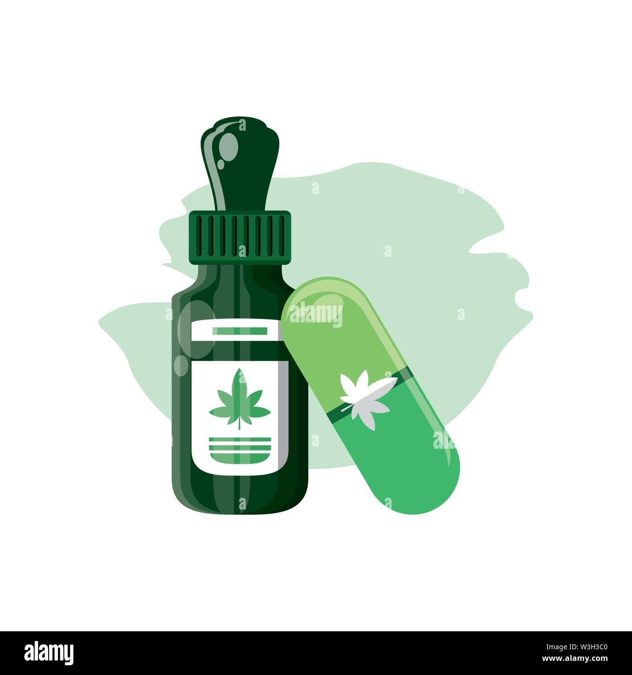 Cannabis Flasche Produkt dropper mit Kapsel Vector Illustration Design Stockbild