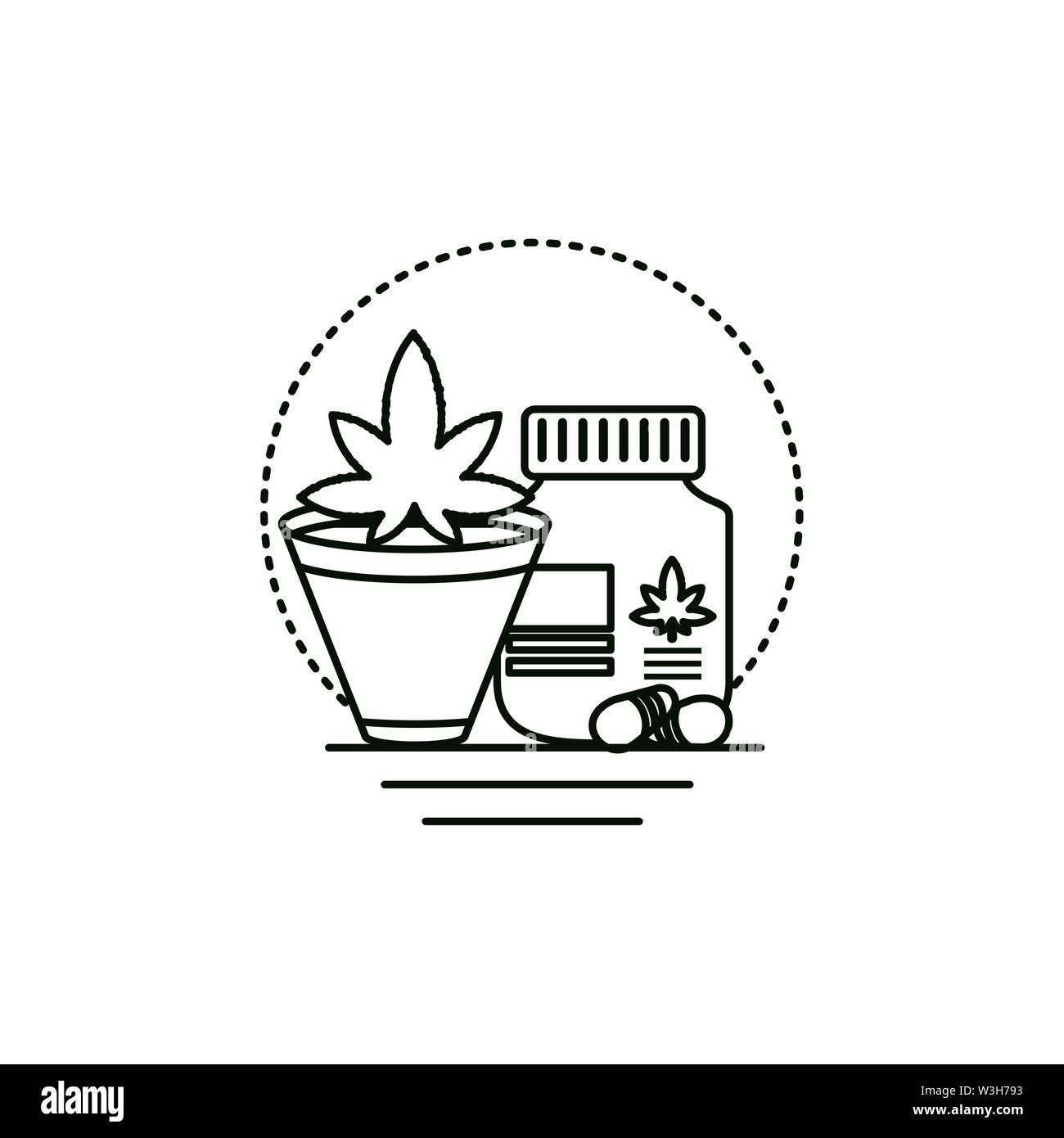 Cannabis Flasche Produkt mit zimmerpflanze Vector Illustration Design Stockbild