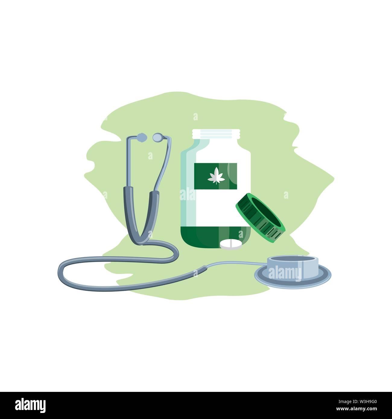 Cannabis Flasche Produkt mit Pillen und Stethoskop Vector Illustration Design Stockbild