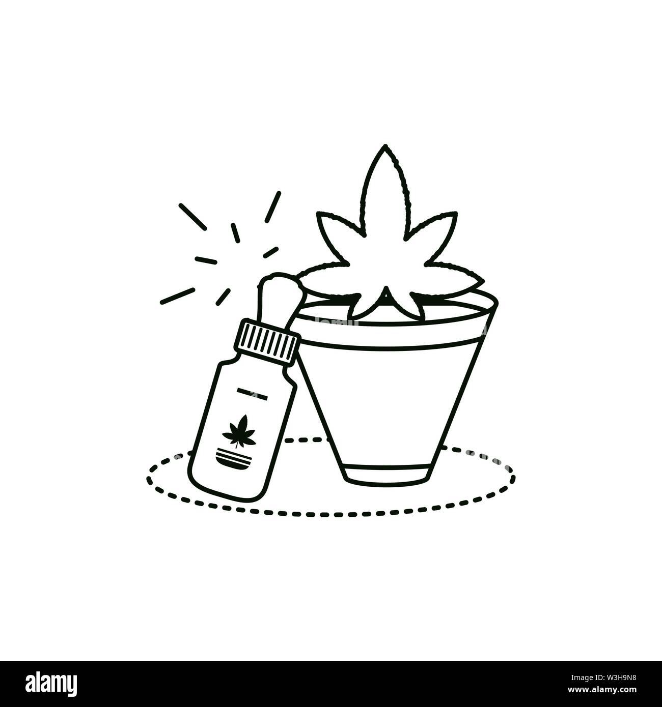 Cannabis Flasche Produkt dropper mit zimmerpflanze Vector Illustration Design Stockbild