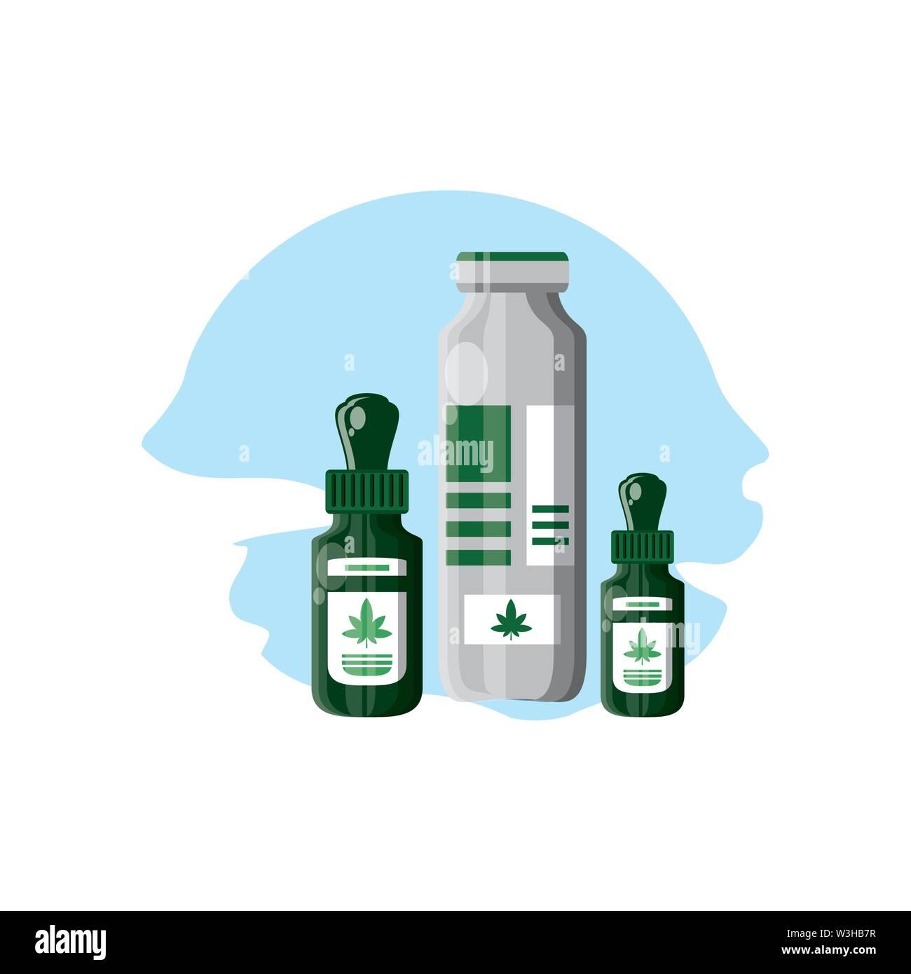Cannabis Dropper mit Flaschen Produkte Vector Illustration Design Stockbild
