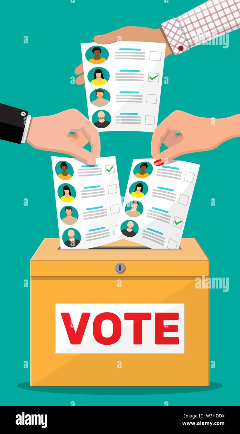 Stimmzettel mit den Kandidaten. Stockbild