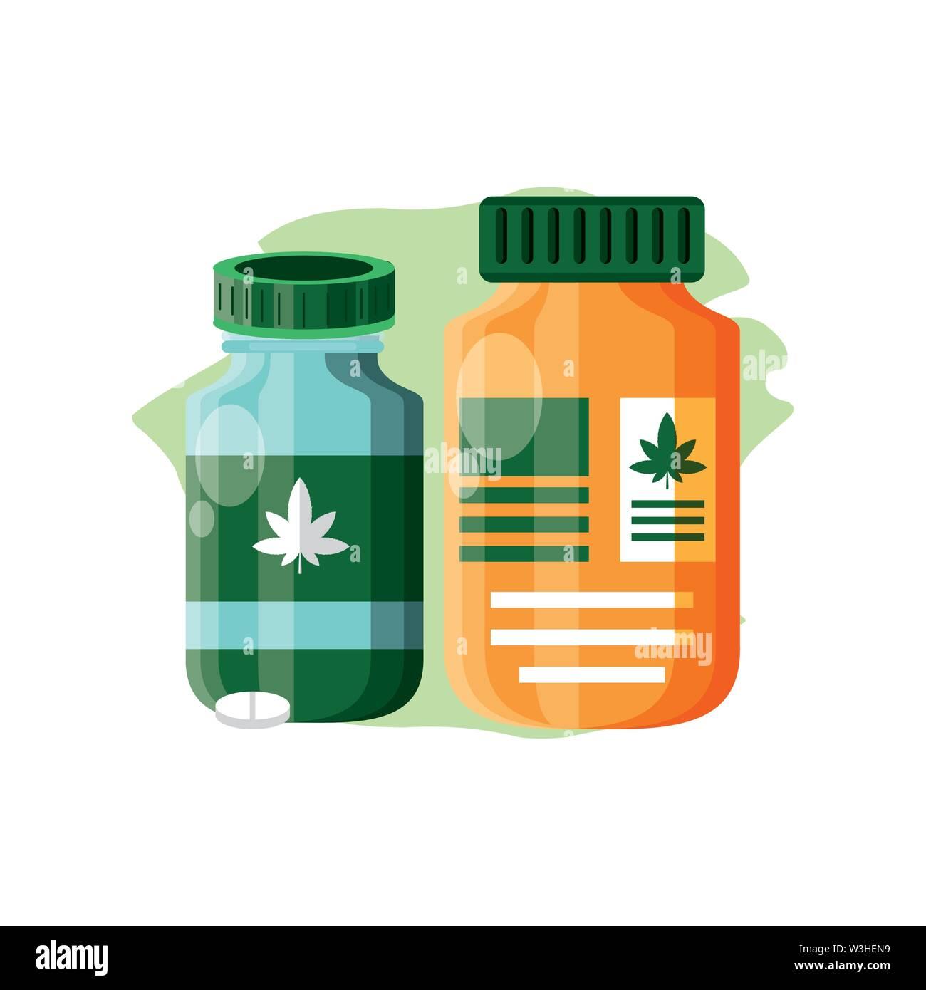 Cannabis Flasche Produkt mit Pillen Vector Illustration Design Stockbild