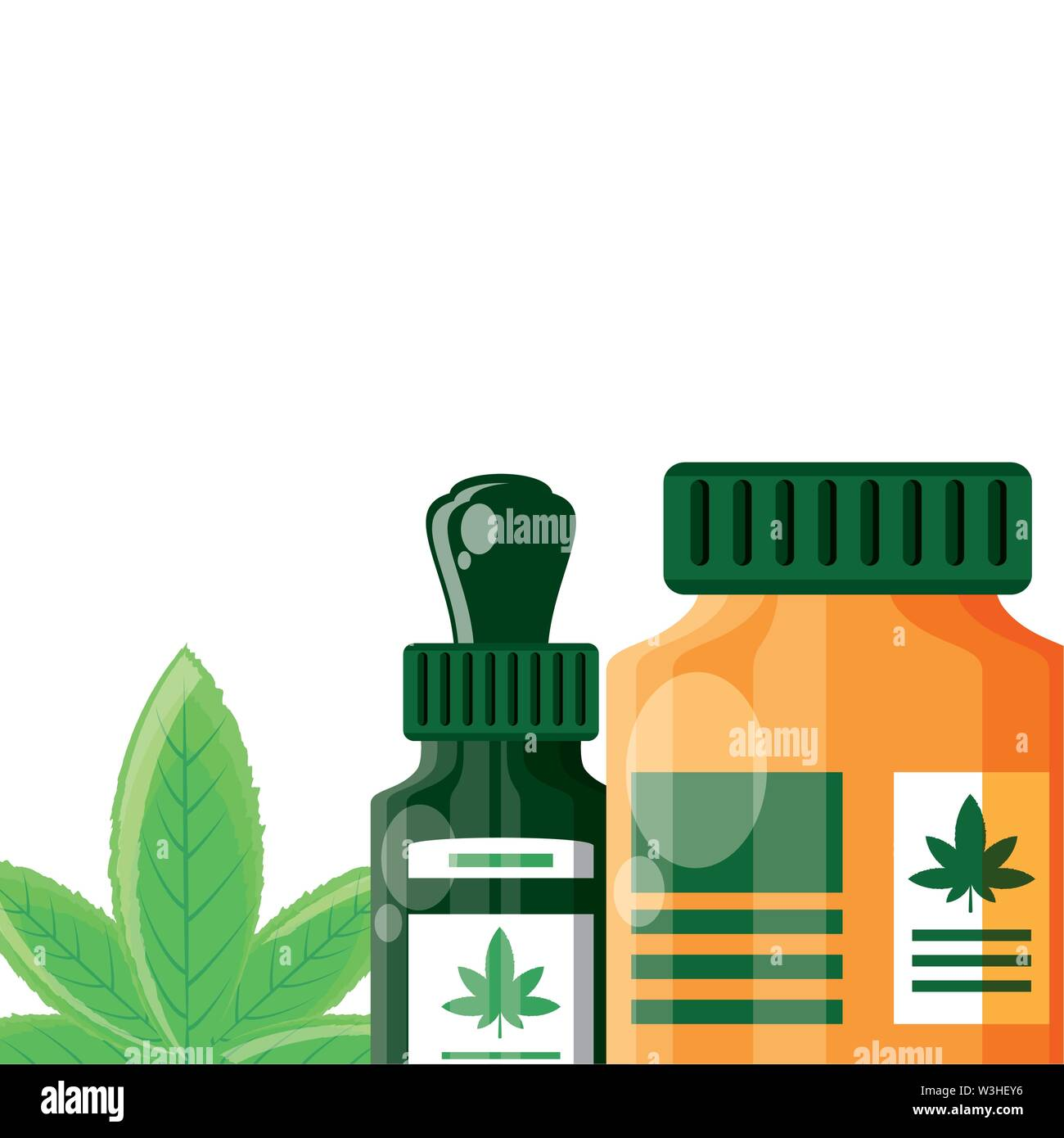 Cannabis Flasche Produkt dropper Symbol Vektor illustration Design Stockbild
