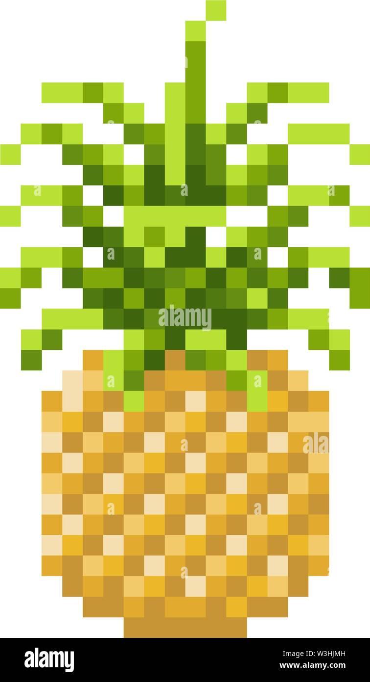 Ananas Pixel Art 8 Bit Video Spiel Fruit Symbol Vektor