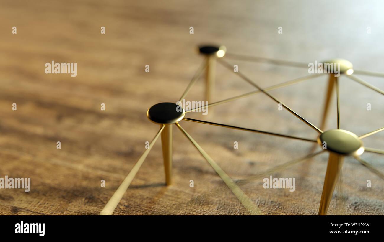 Verknüpfte konzeptionelle Zusammenarbeit. Netzwerk, Netzwerkbetrieb, anschließen. Abstrakte Vernetzung. 3D-Rendering. Stockfoto