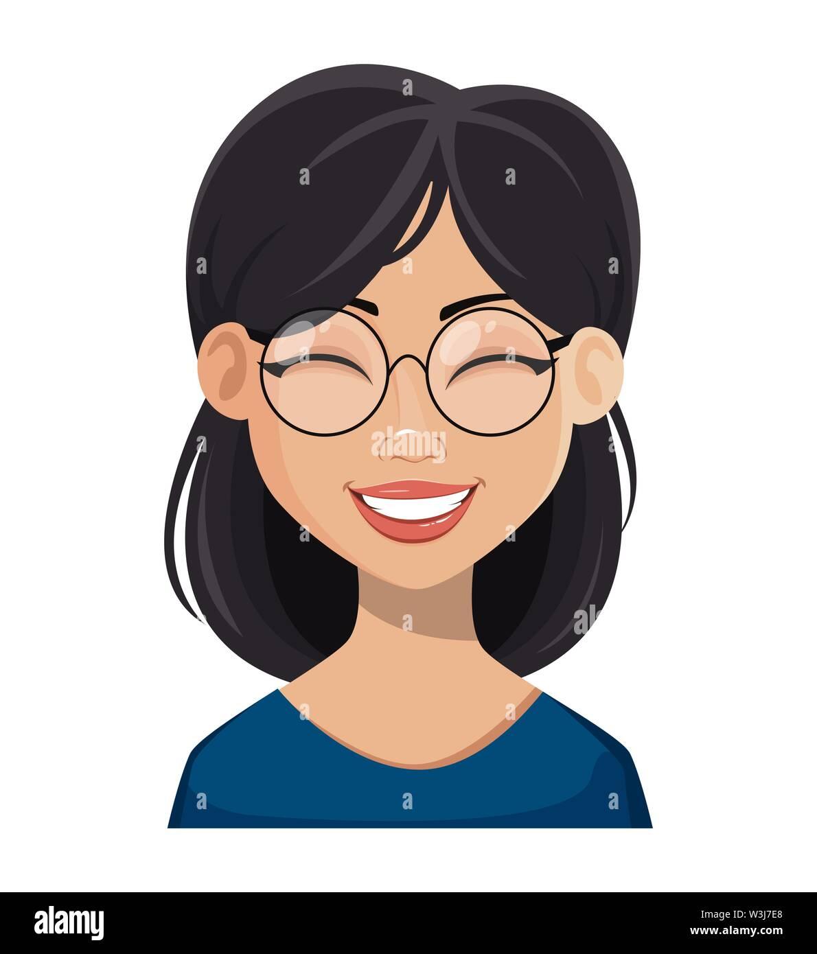 Gesicht Ausdruck der schönen Frau mit dunklen Haaren in Gläsern, Lachen. Weibliche Emotion. Cute cartoon Charakter. Vector Illustration auf weißen isoliert Stockbild