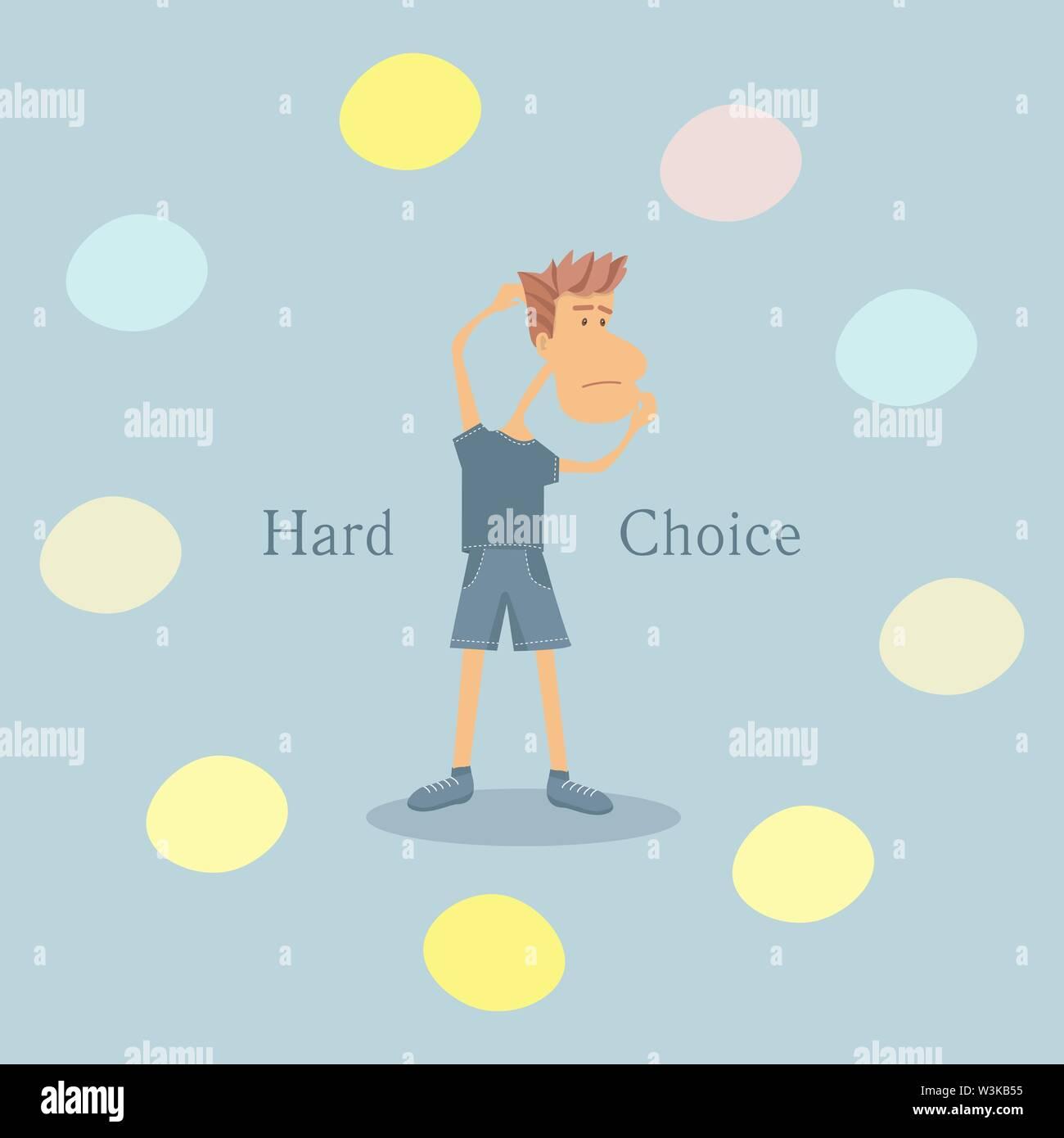 Vector Illustration mit einem jungen Mann, der harte Entscheidung. Flat Style Abbildung Stockbild