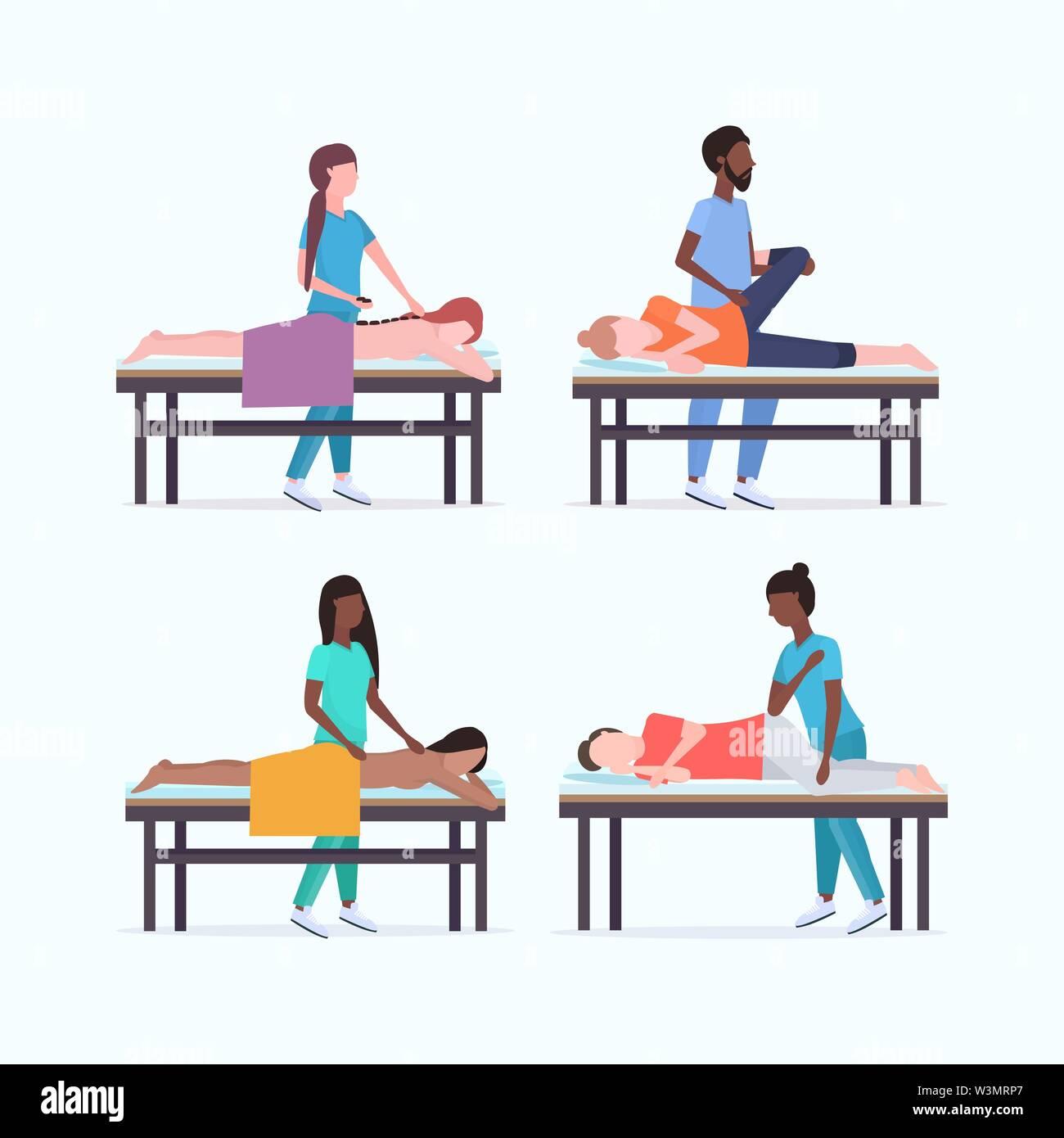 Set Masseure Therapeuten, heilende Behandlung von mix Rennen Patienten auf Massagetisch Spezialisten massieren verletzte Körperteile Sammlung Handbuch Sport Stockbild