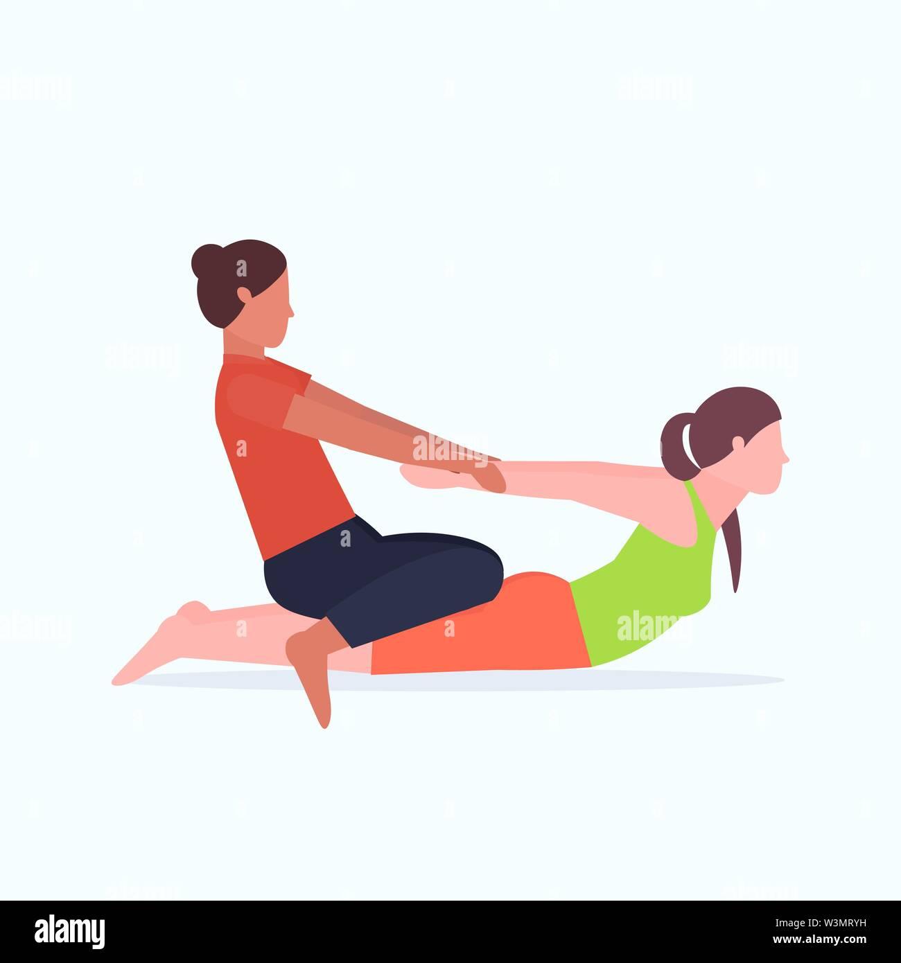 Weibliche personal trainer zu tun Stretching Übungen mit Mädchen Fitness Instructor helfen Frau Muskeln workout Konzept Flachbild voller Länge vect Stretch Stockbild