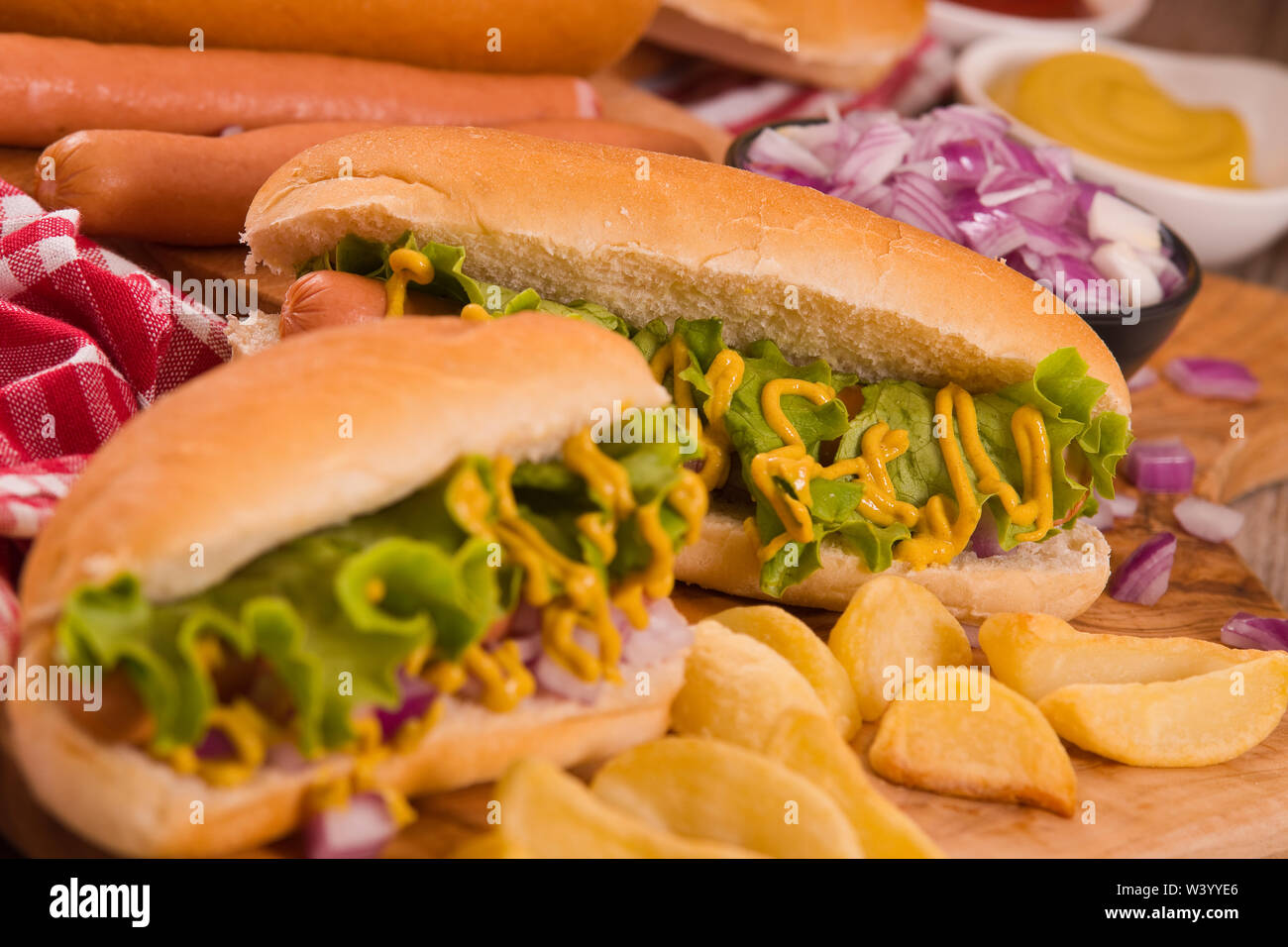Hot Dogs. Stockbild