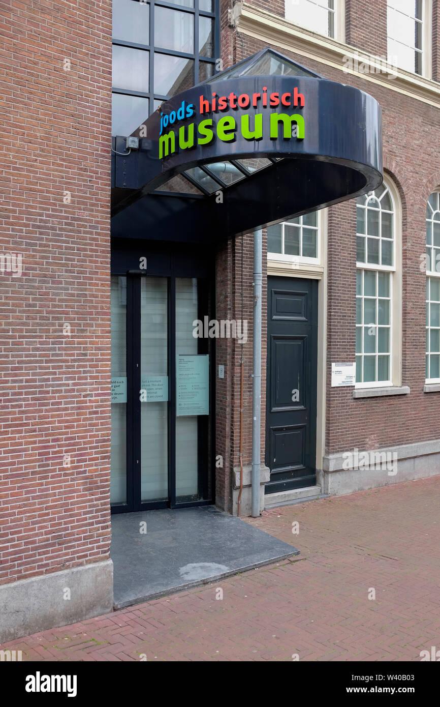 Eingang des Jüdischen Historischen Museum Amsterdam, Niederlande. Stockfoto